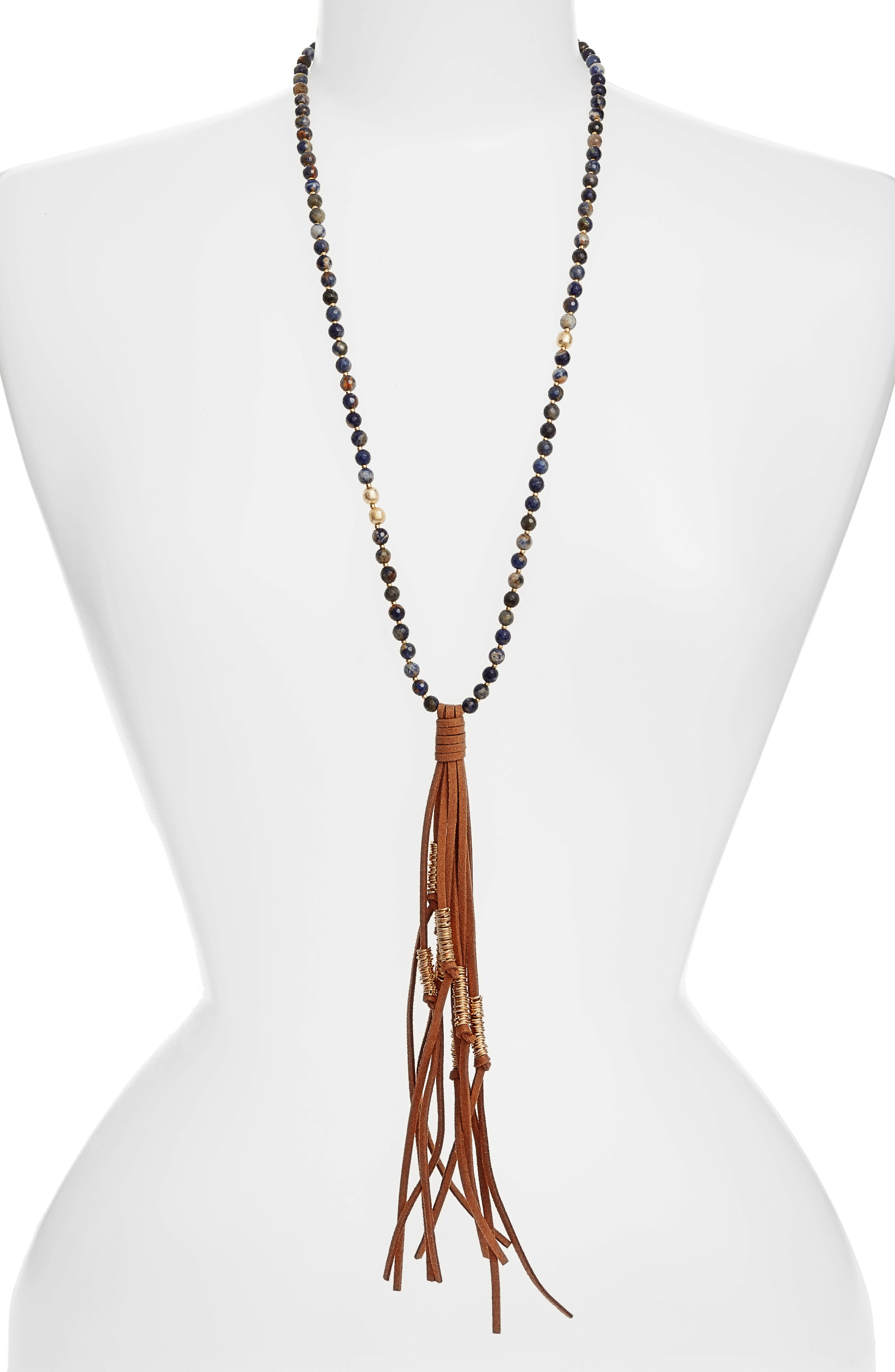 Love's Affect Semiprecious Stone Tassel Necklace,                         Main,                         color, 200