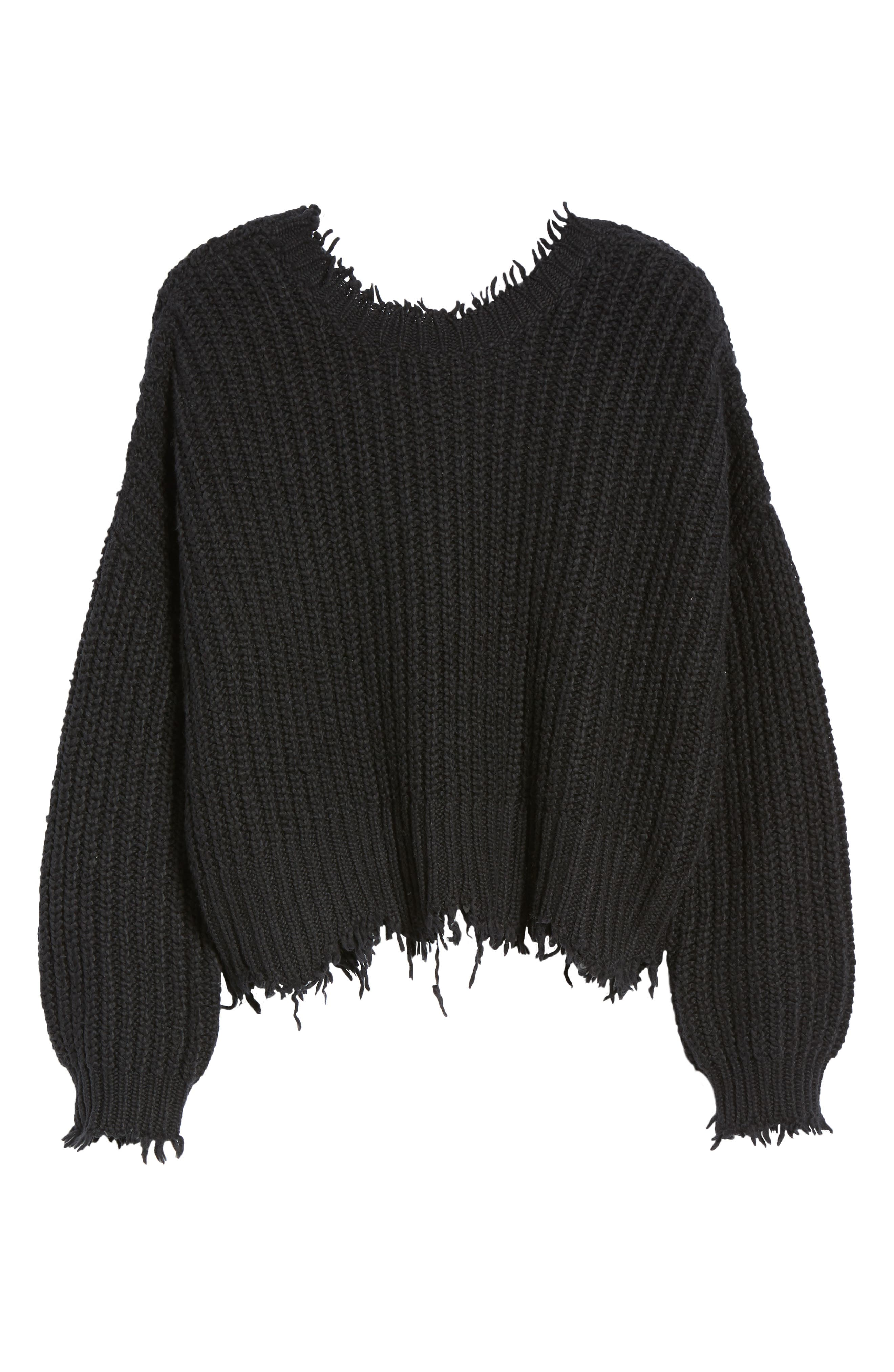 Palmetto Frayed Sweater,                             Alternate thumbnail 6, color,                             BLACK