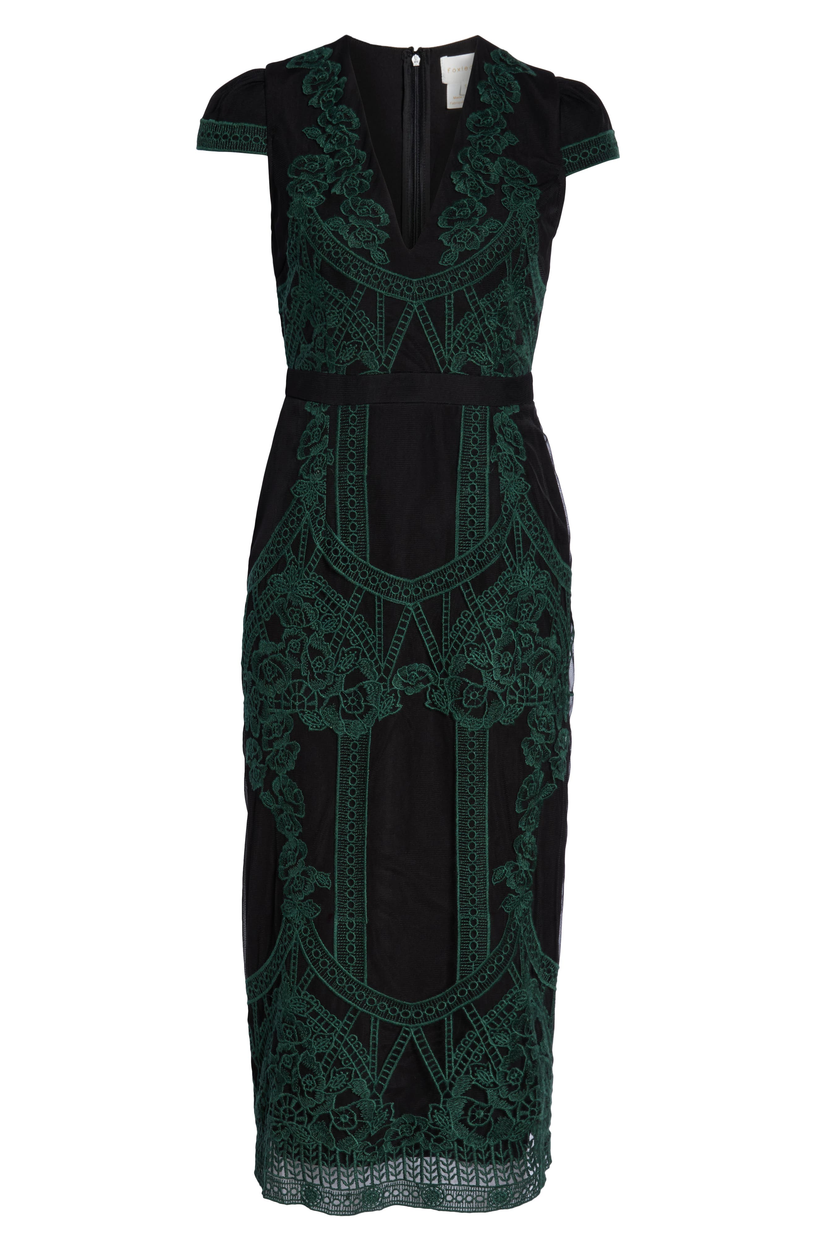 Remmy Embroidered Midi Dress,                             Alternate thumbnail 7, color,                             GREEN MULTI