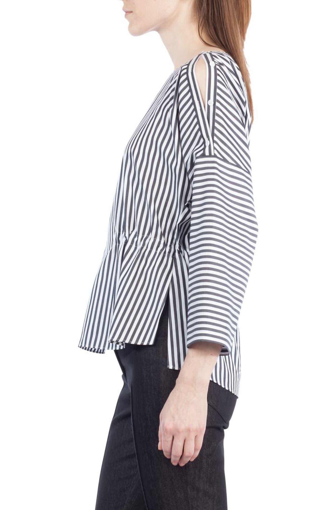 Stripe Cotton Drawstring Blouse,                             Alternate thumbnail 4, color,                             960