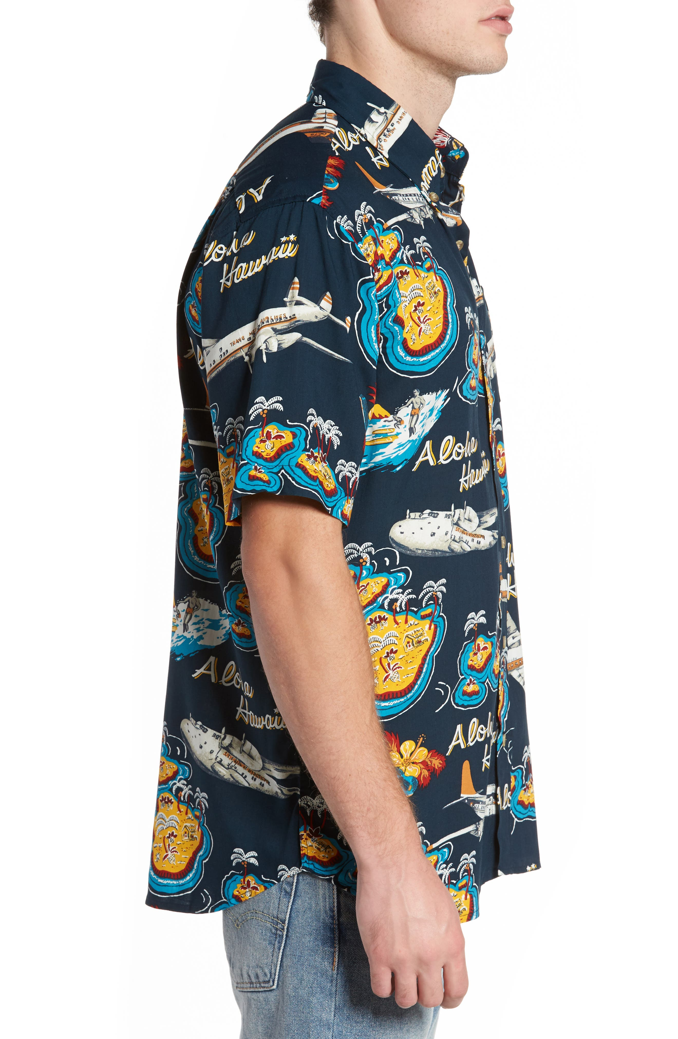 Birds in Paradise Modern Fit Shirt,                             Alternate thumbnail 3, color,                             410