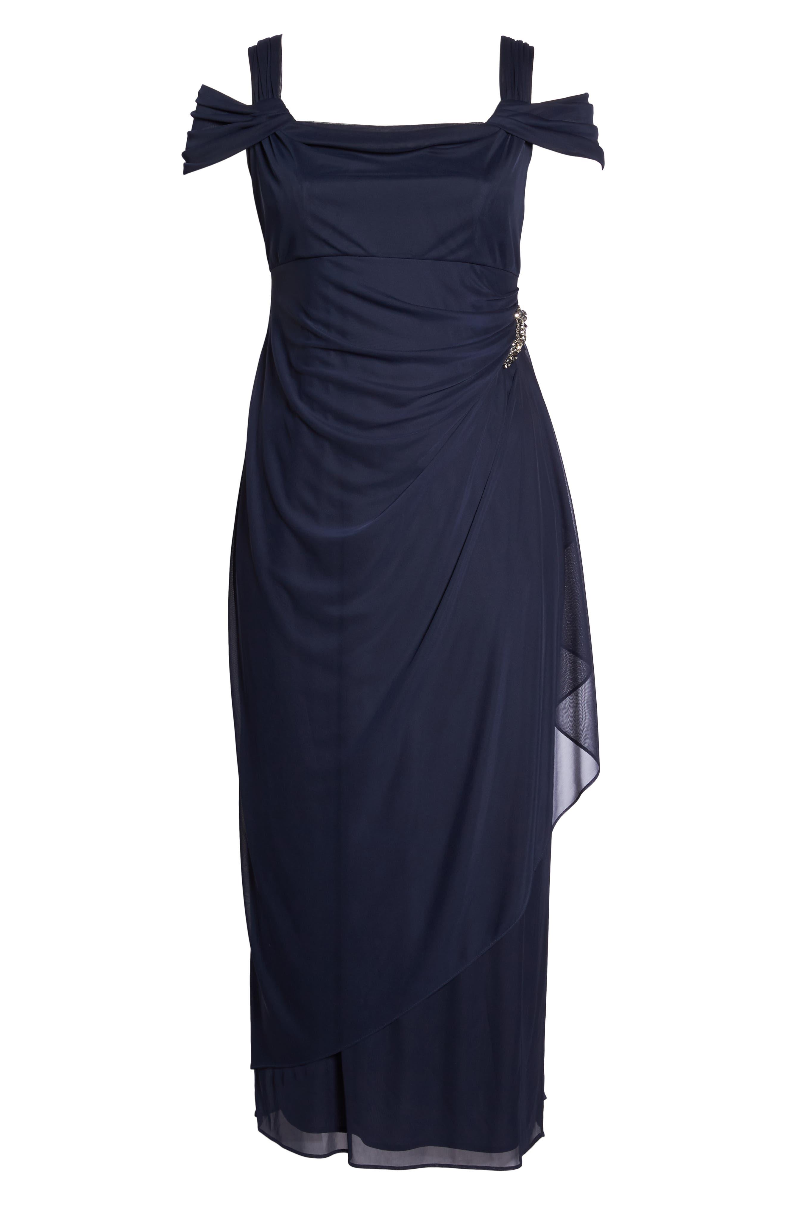 Embellished Cold Shoulder Gown,                             Alternate thumbnail 6, color,                             NAVY