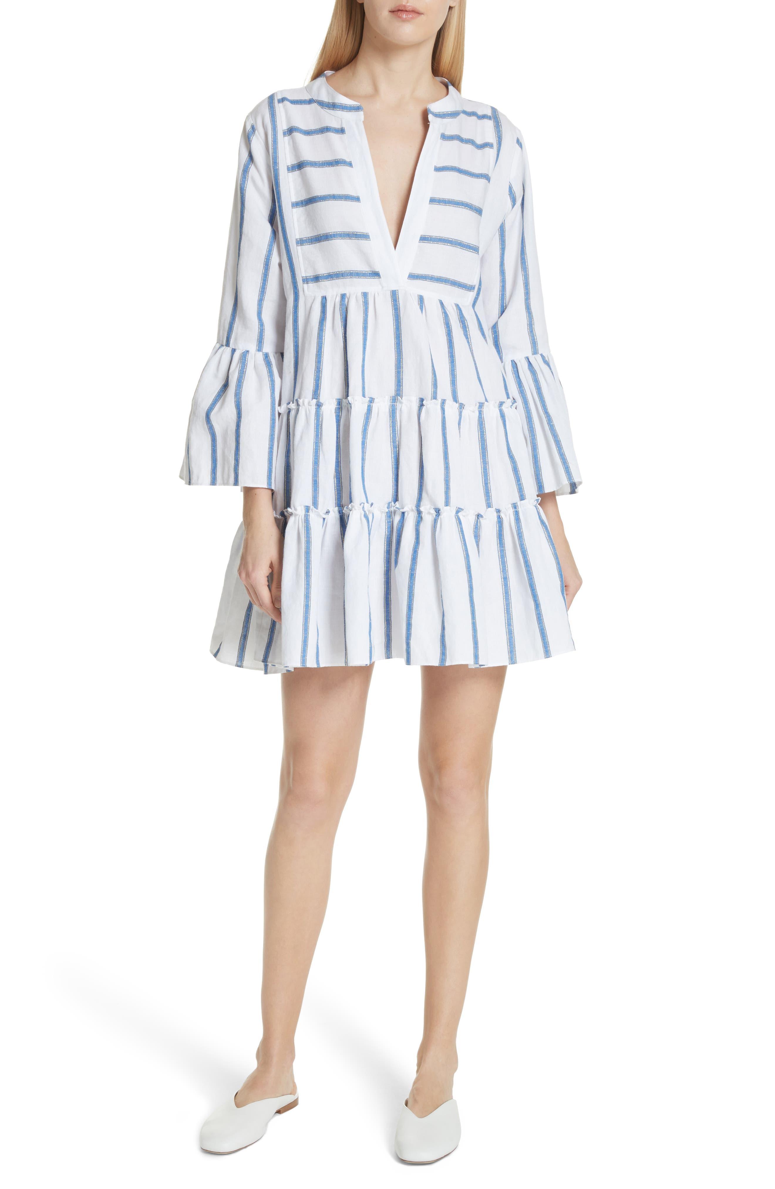 Lyssa Cotton & Linen Blend Dress,                             Main thumbnail 1, color,                             WHITE/ BLUE