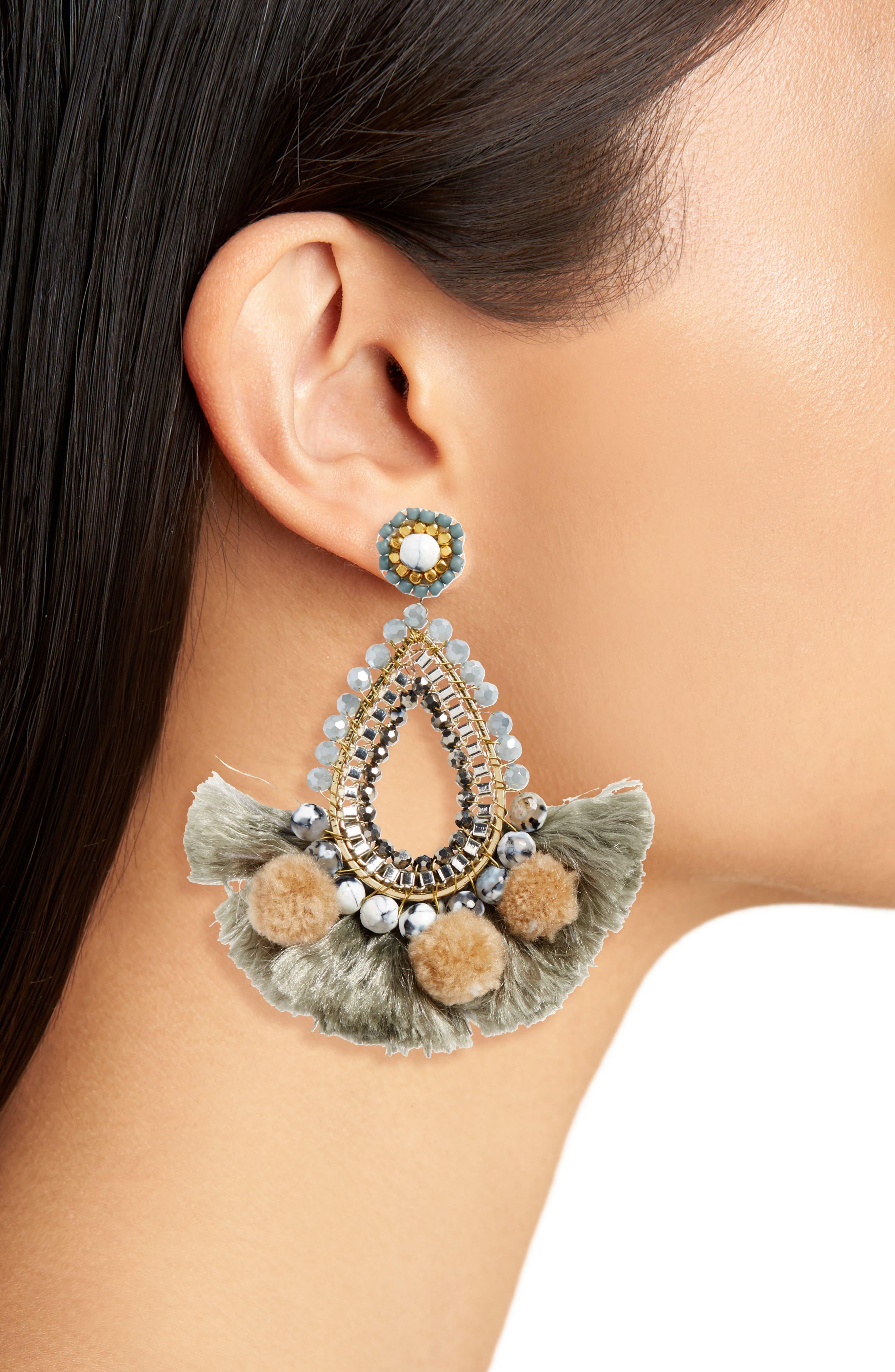 Fringe Teardrop Earrings,                             Alternate thumbnail 2, color,                             020