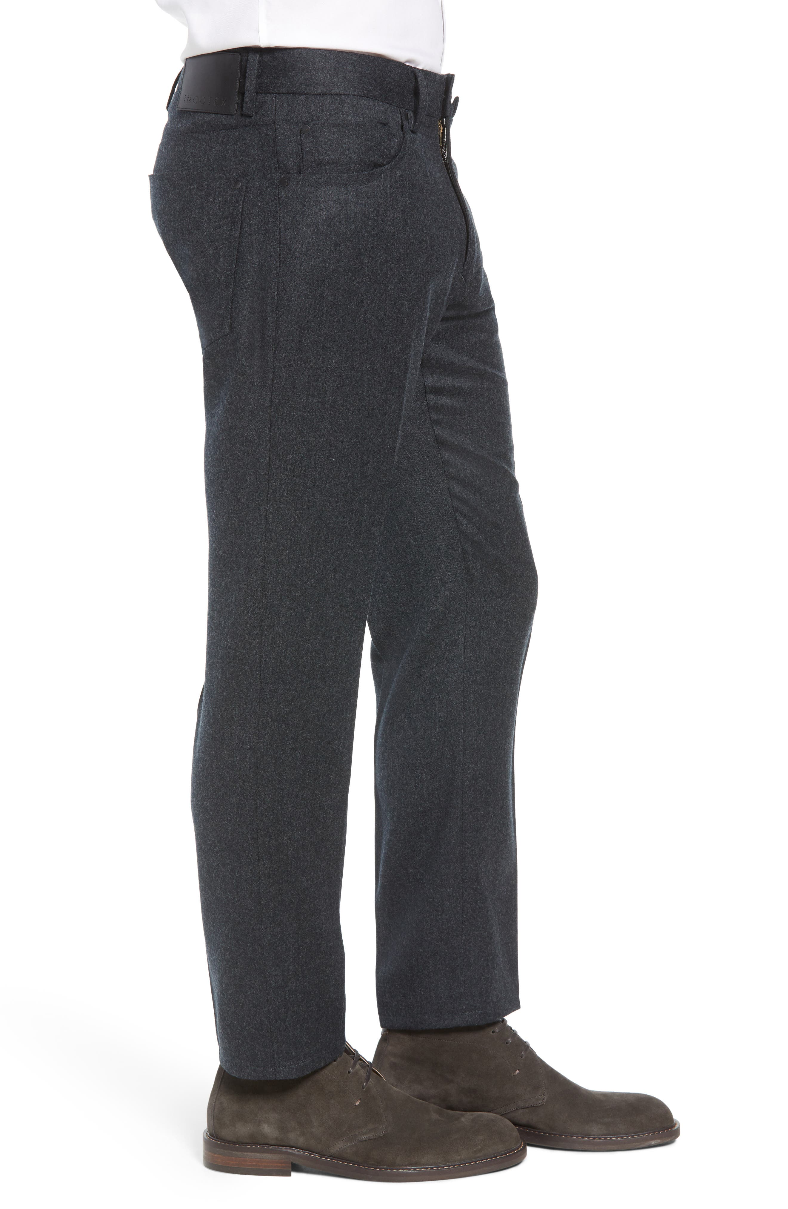 Five-Pocket Solid Wool Trousers,                             Alternate thumbnail 3, color,                             CHARCOAL
