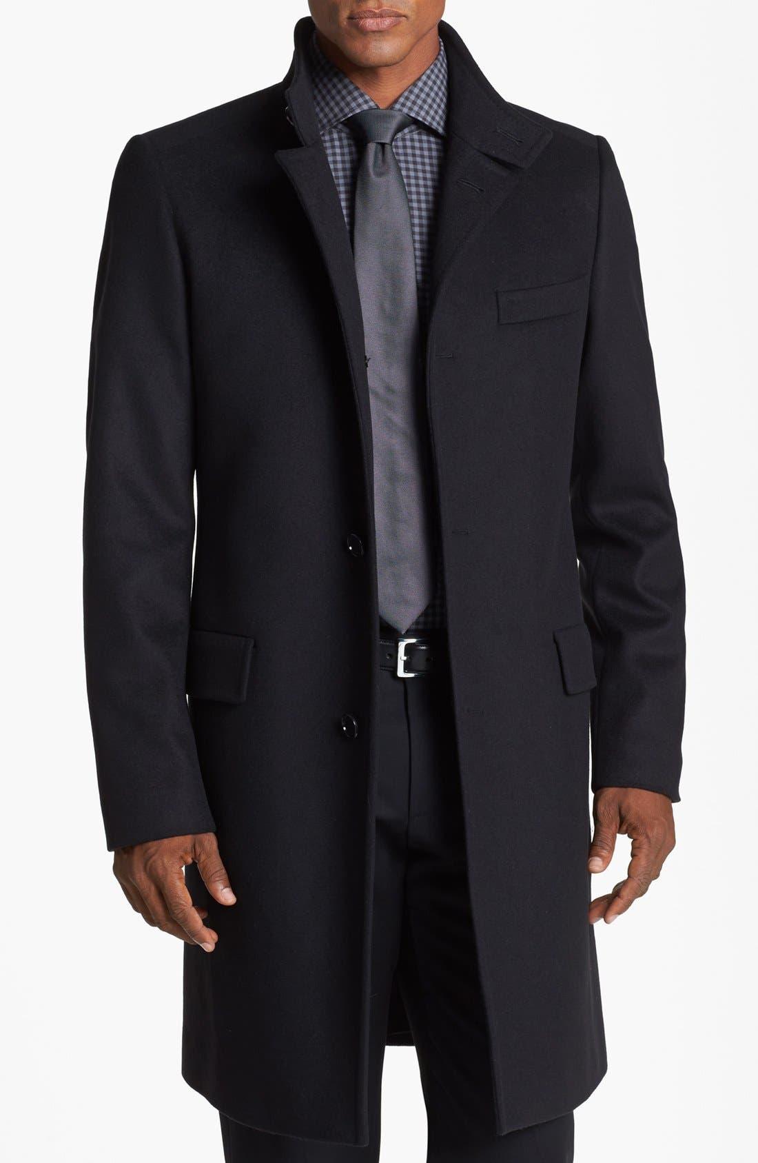 BOSS HUGO BOSS 'Sintrax' Wool Blend Coat,                             Main thumbnail 1, color,                             001