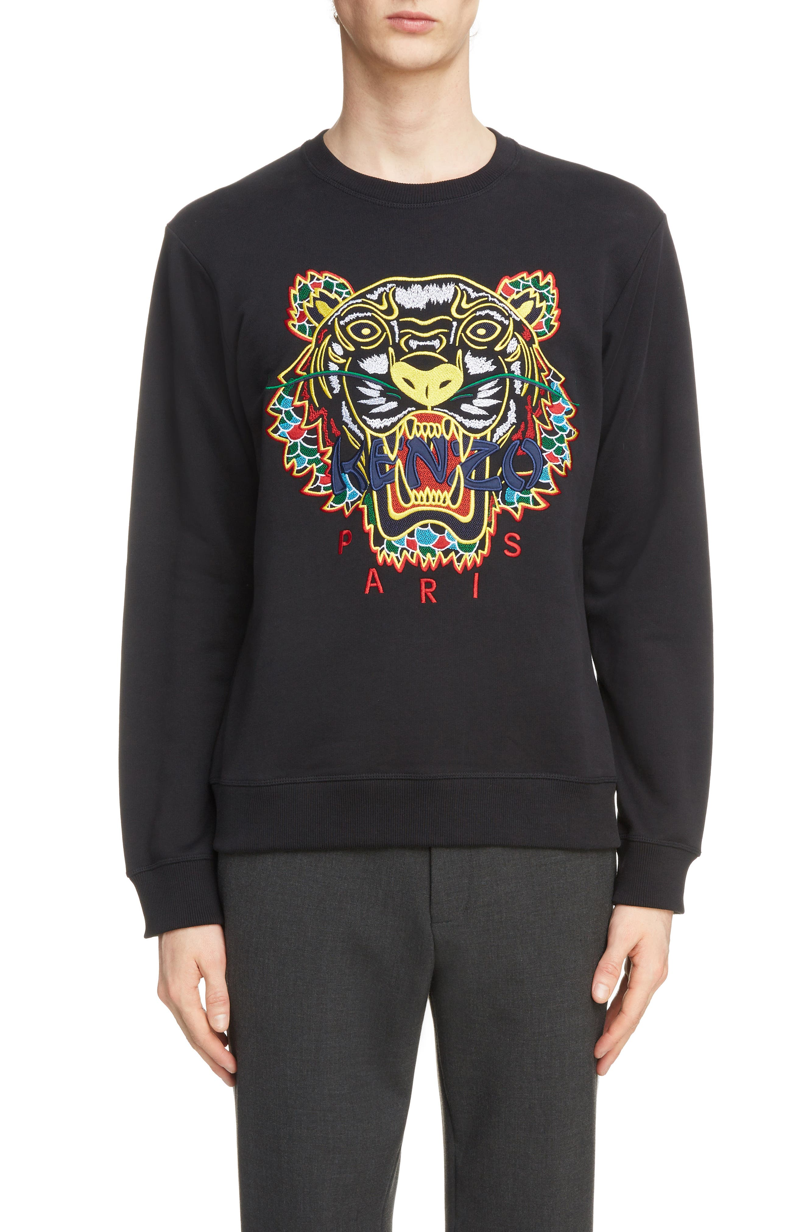 Dragon Tiger Crewneck Sweatshirt,                             Main thumbnail 1, color,                             BLACK