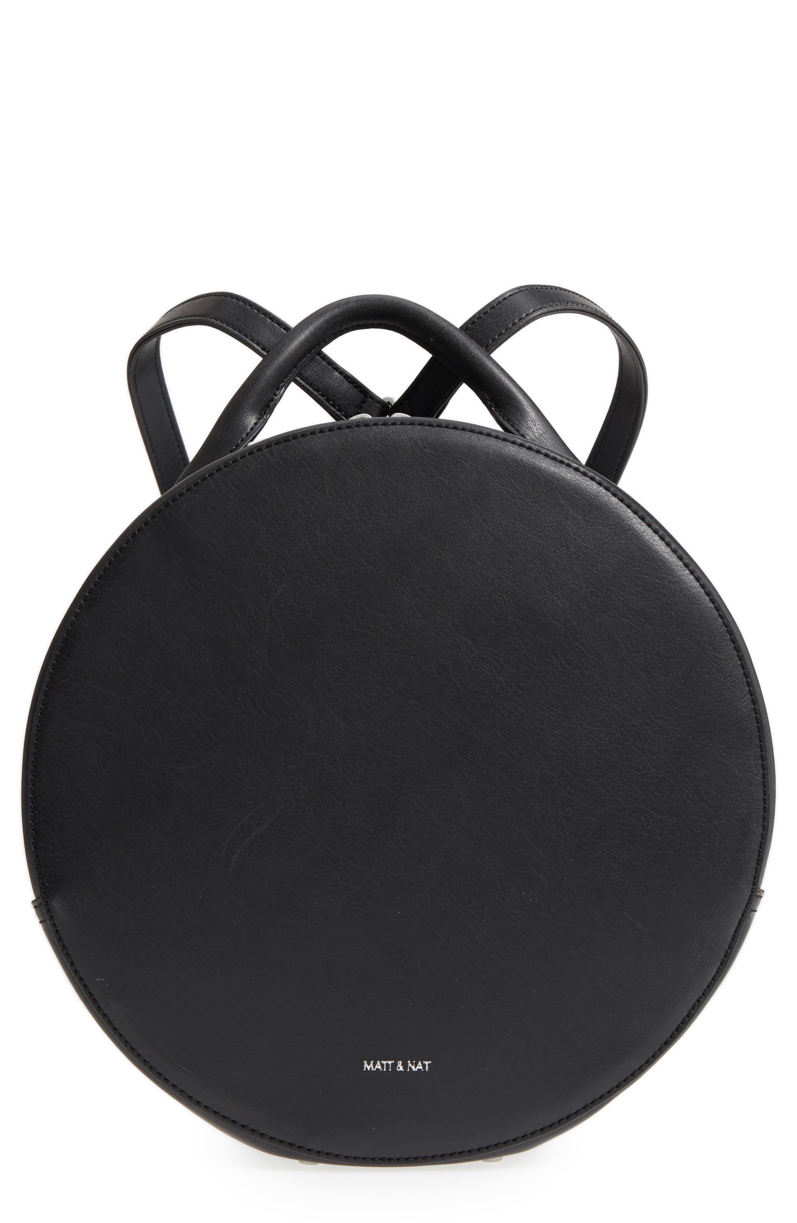MATT & NAT Kiara Faux Leather Circle Backpack, Main, color, BLACK