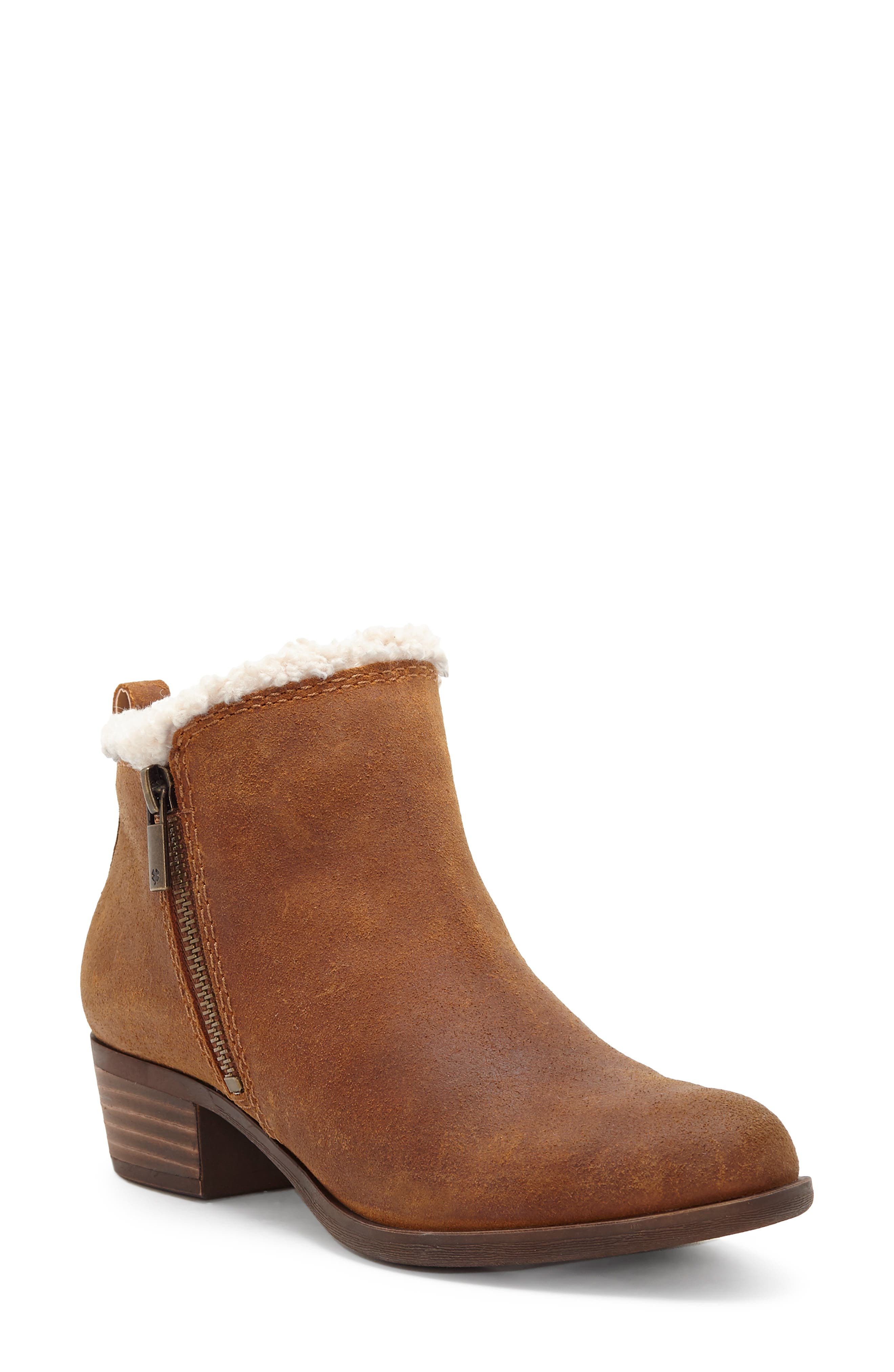 Lucky Brand Basel Waterproof Faux Fur Lining Bootie- Brown