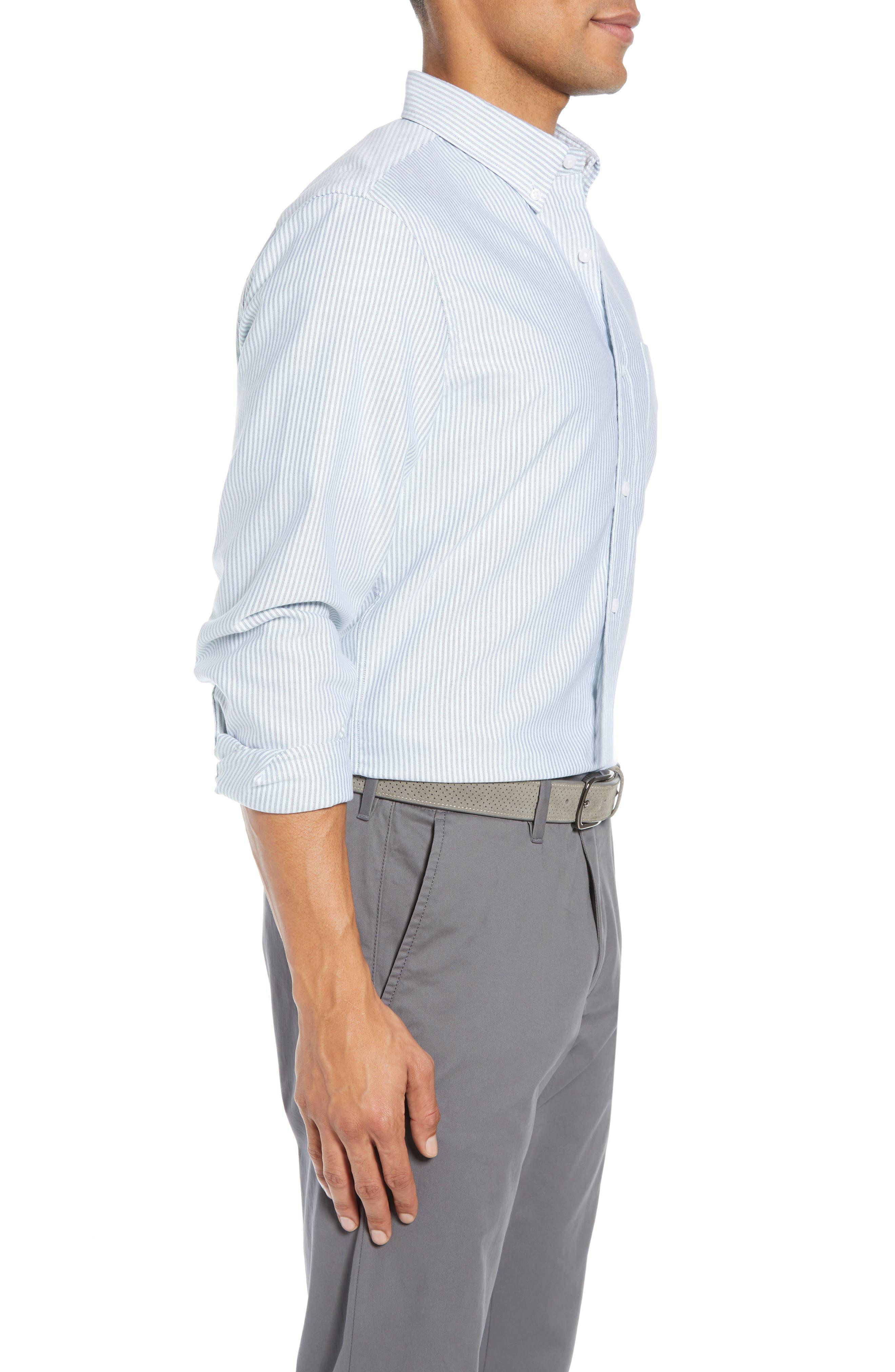 Trim Fit Bengal Stripe Sport Shirt,                             Alternate thumbnail 4, color,                             BLUE ENSIGN MINT STRIPE
