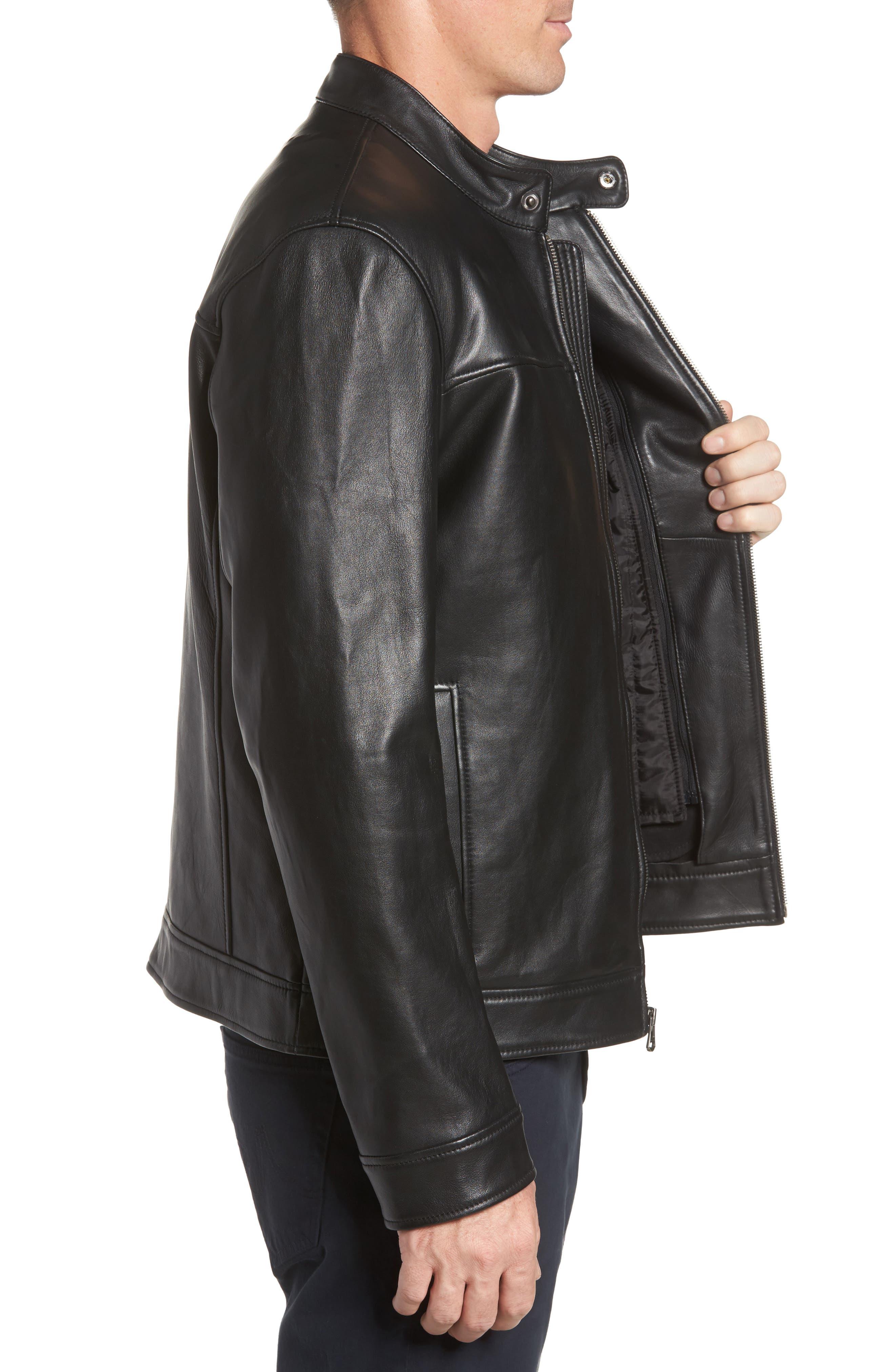 Bonded Leather Moto Jacket,                             Alternate thumbnail 3, color,                             BLACK