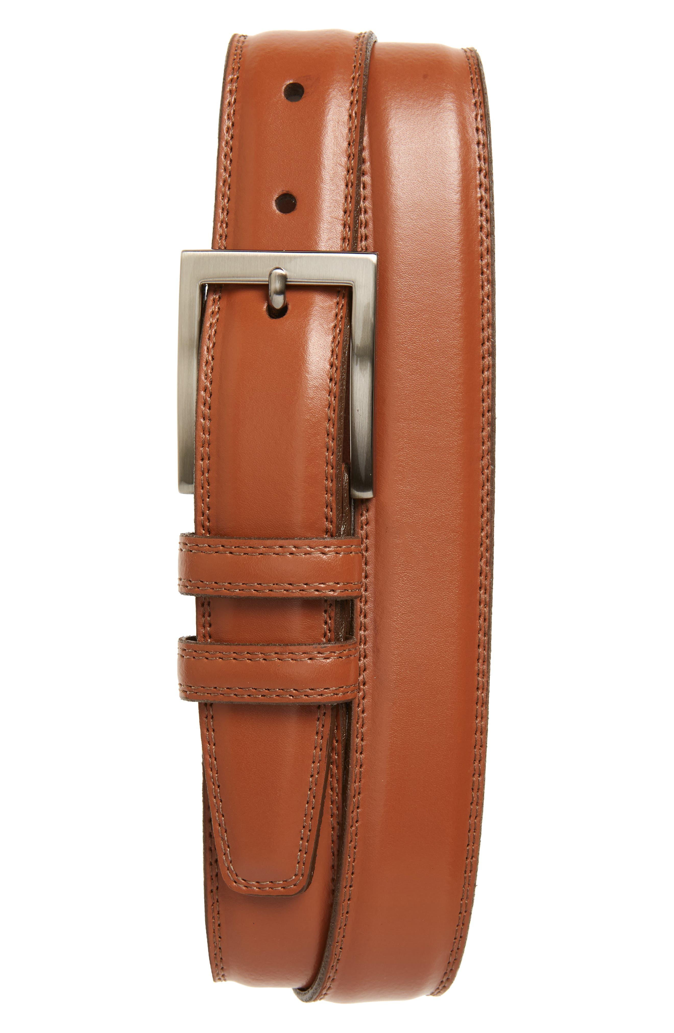 Aniline Leather Belt,                         Main,                         color, TAN