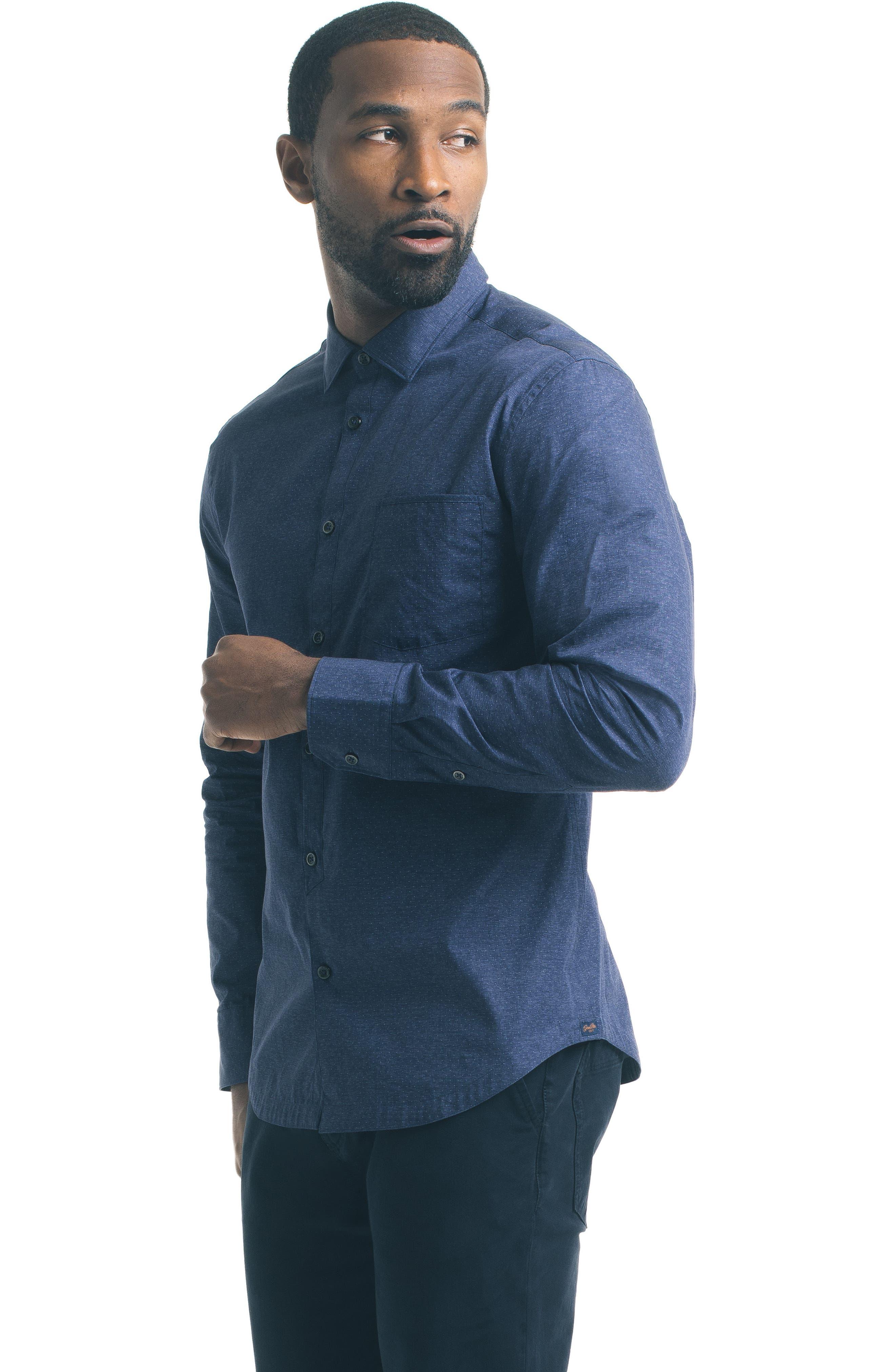 Slim Fit Blue Dot Sport Shirt,                             Alternate thumbnail 5, color,                             400