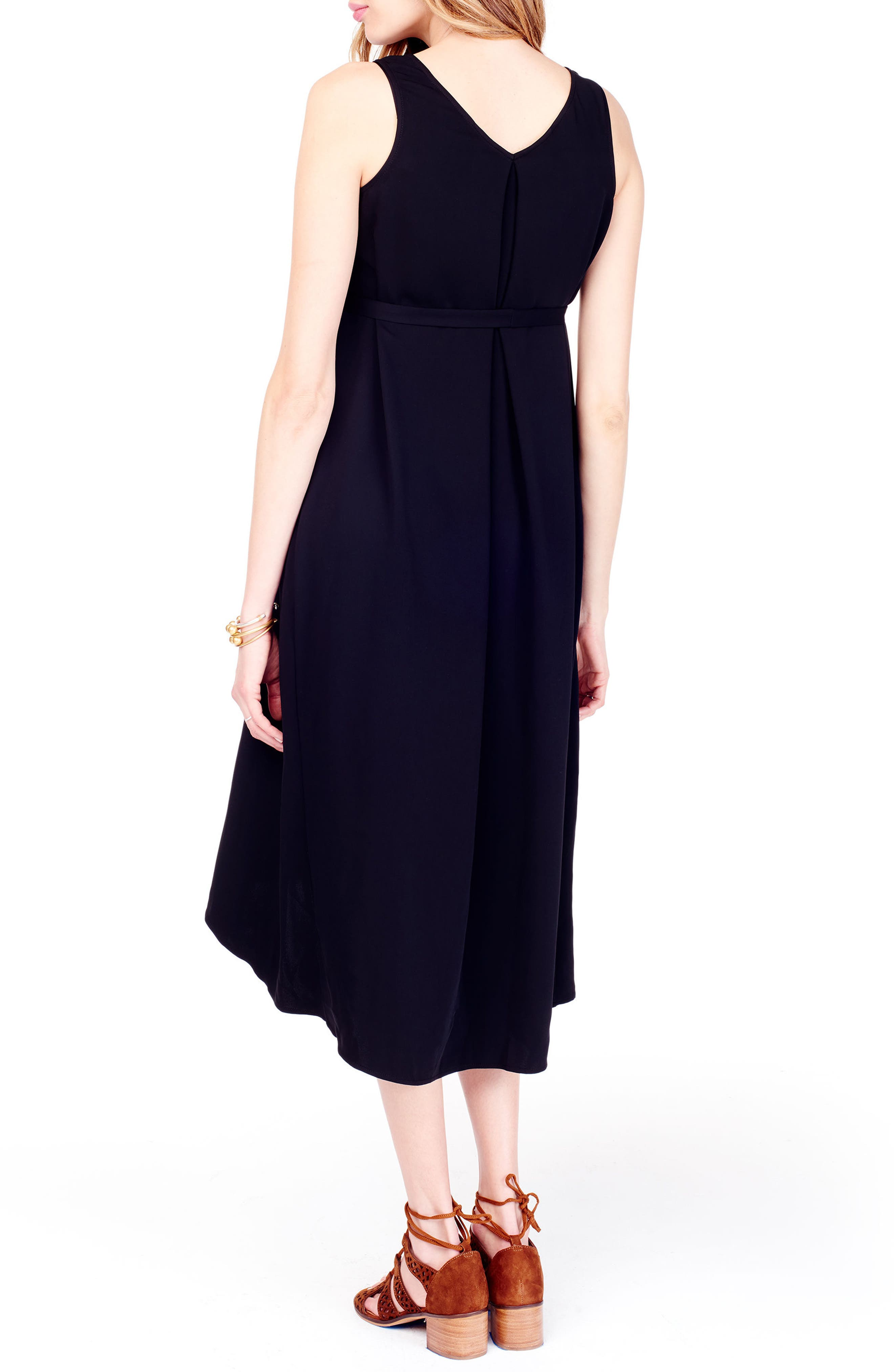 High/Low Maternity Dress,                             Alternate thumbnail 2, color,                             JET BLACK