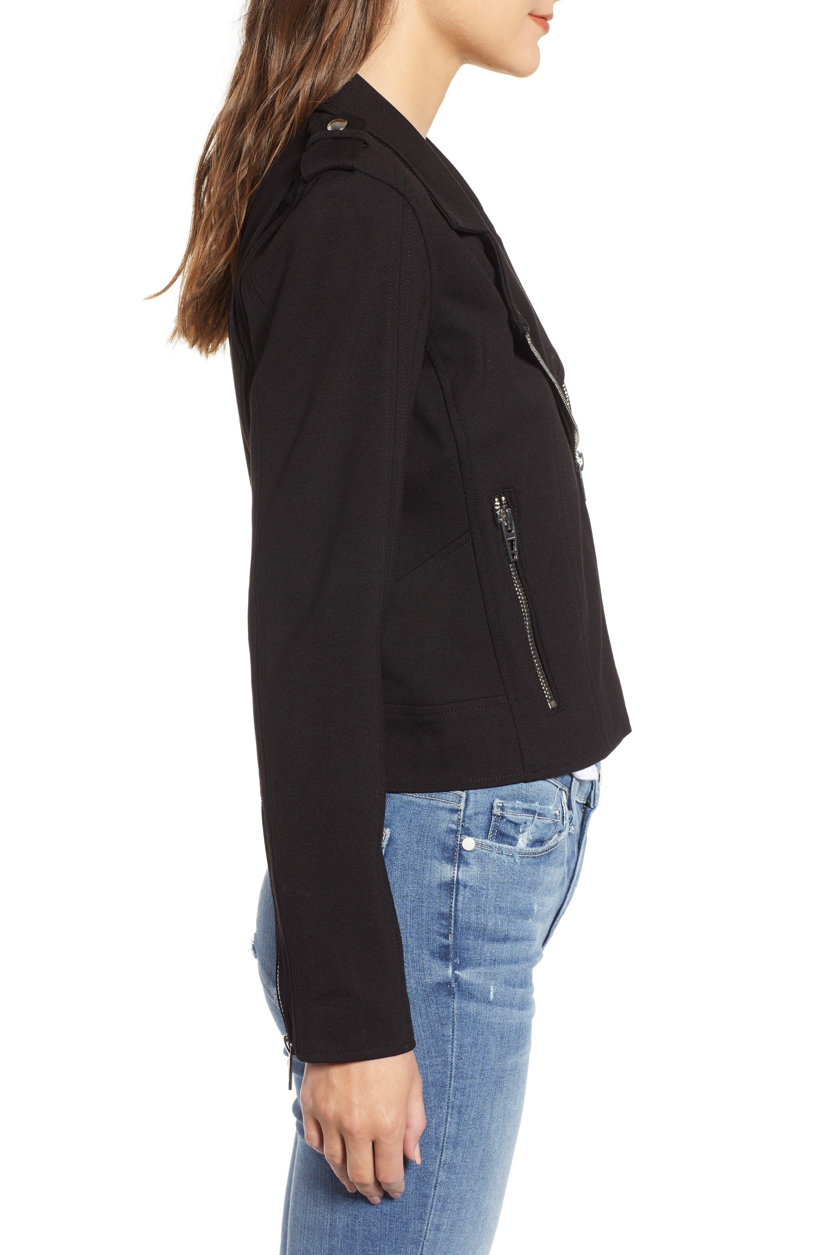 Knit Moto Jacket,                             Alternate thumbnail 3, color,                             CAVIAR