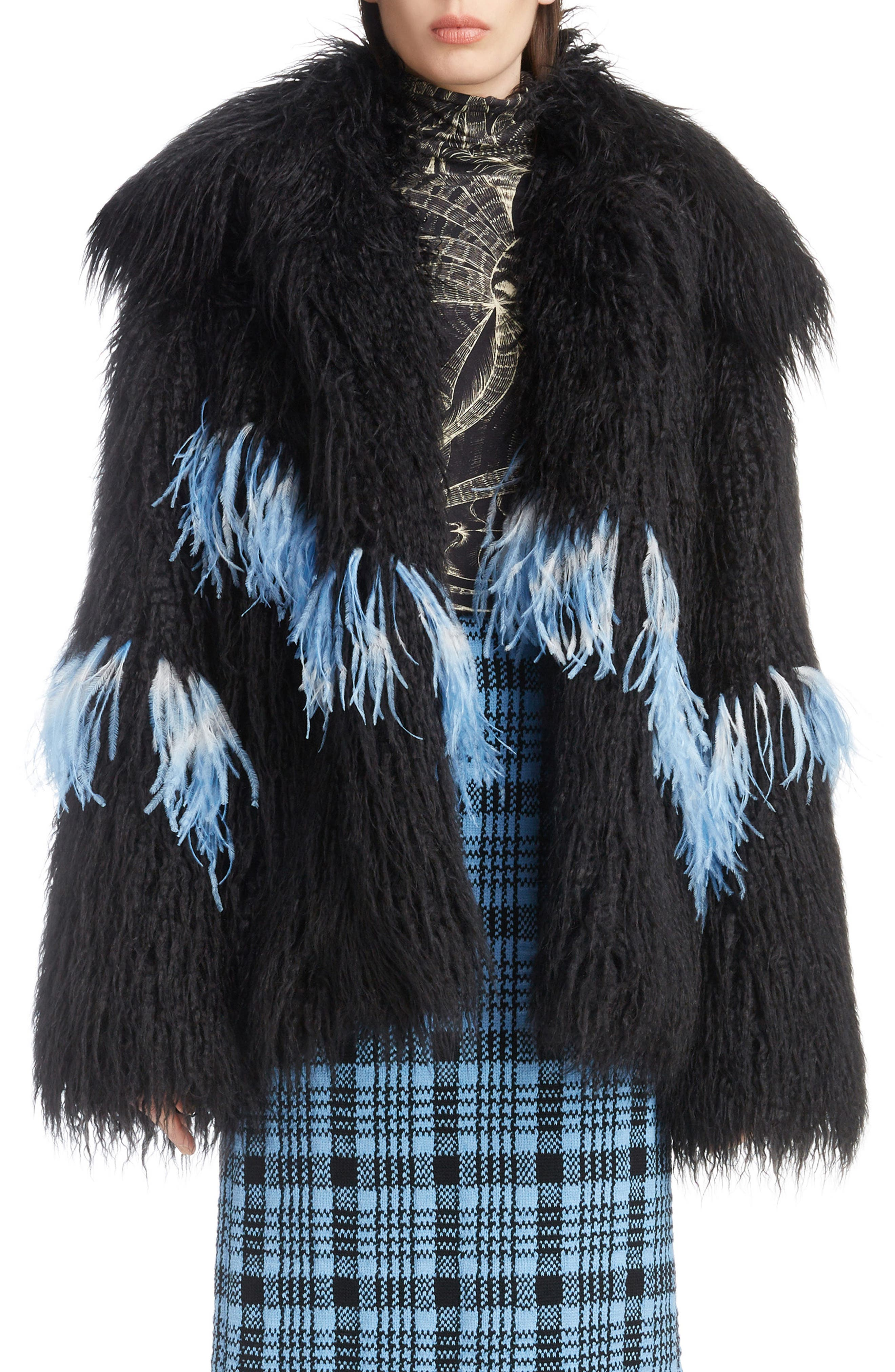 Feather Trim Faux Fur Jacket,                             Main thumbnail 1, color,                             BLACK