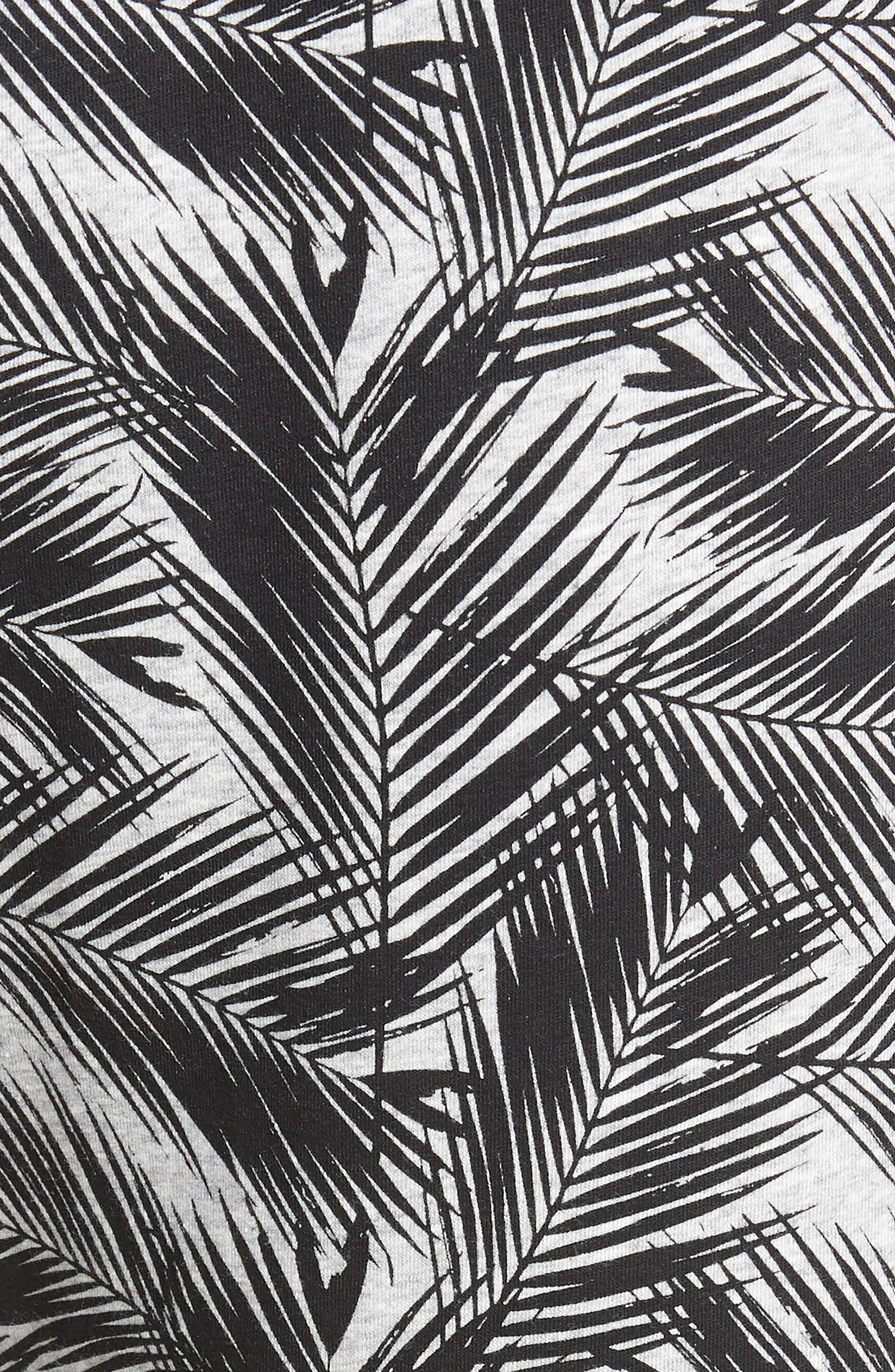 Print Stretch Cotton Jogger Pants,                             Alternate thumbnail 5, color,                             BLACK- GREY PALM FRONDS
