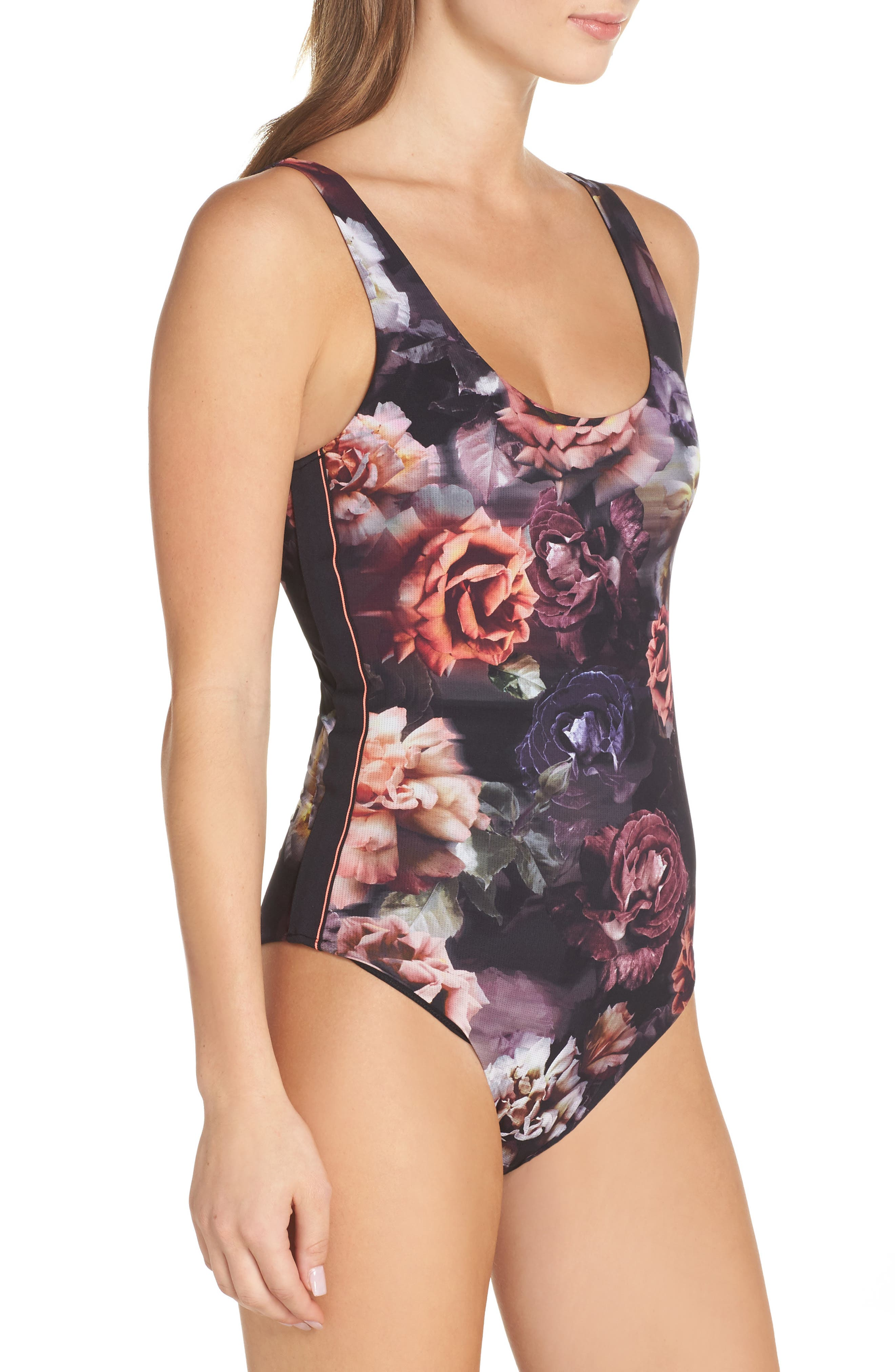 Dark Blooms Bodysuit,                             Alternate thumbnail 3, color,