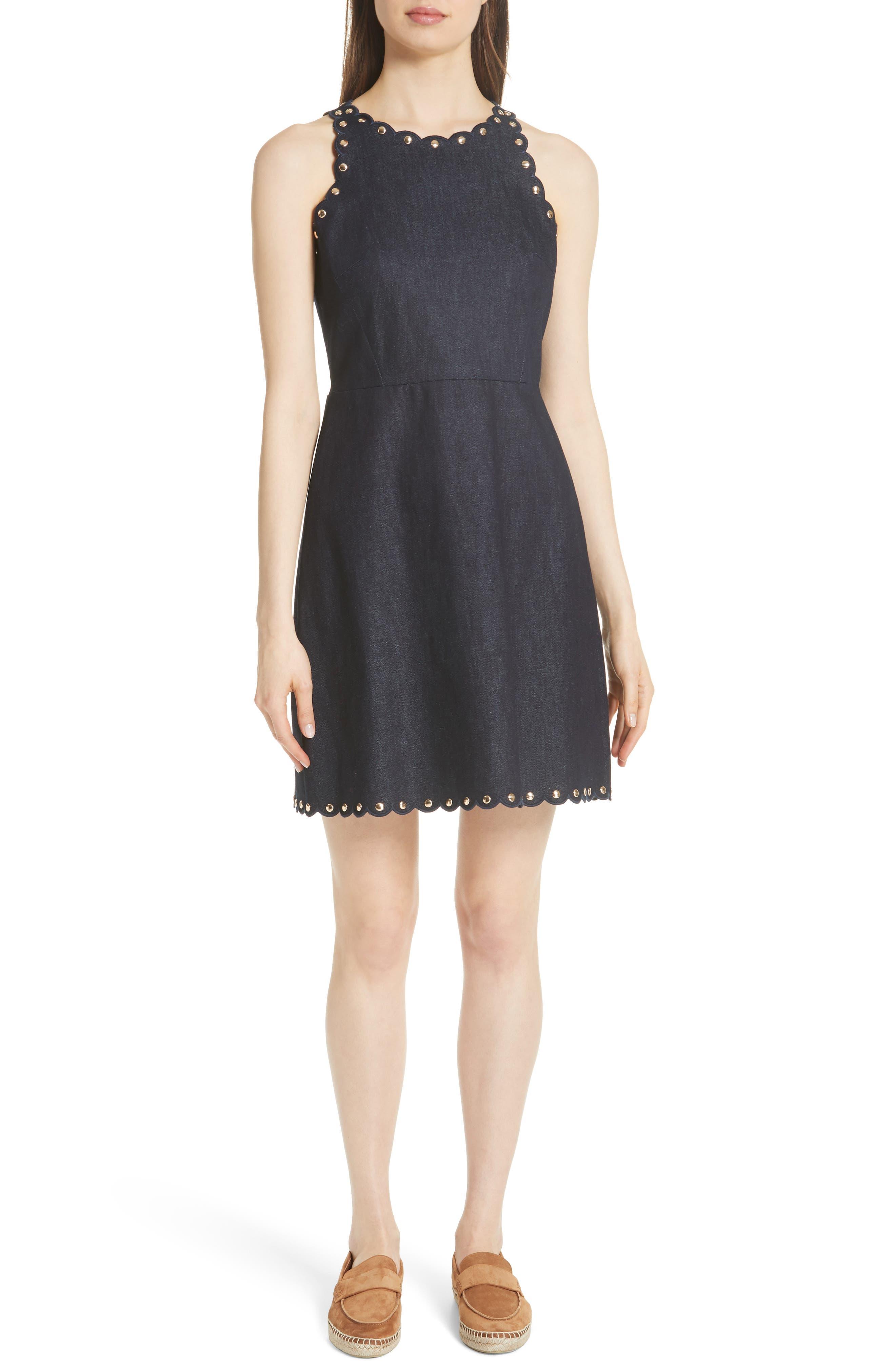 rivet detail denim fit & flare dress,                         Main,                         color, INDIGO
