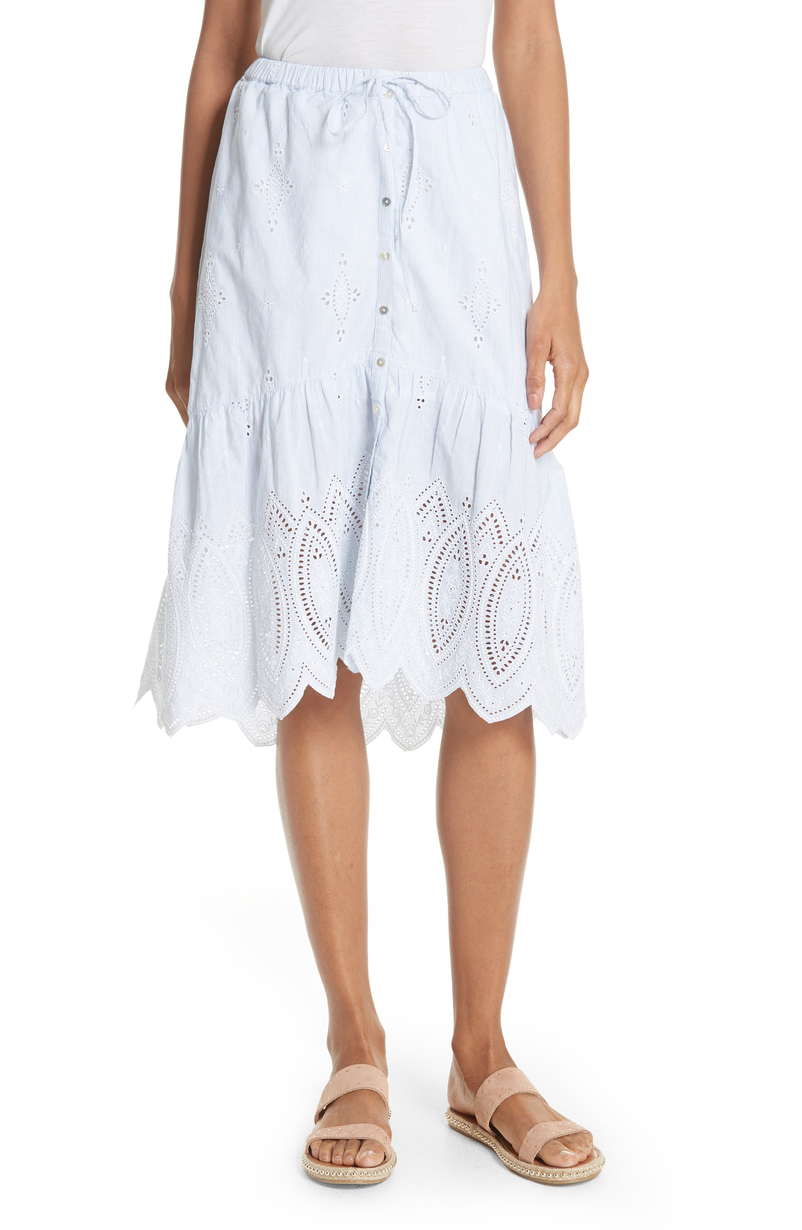 Chantoya Eyelet Scallop Hem Cotton Skirt,                             Main thumbnail 1, color,                             100