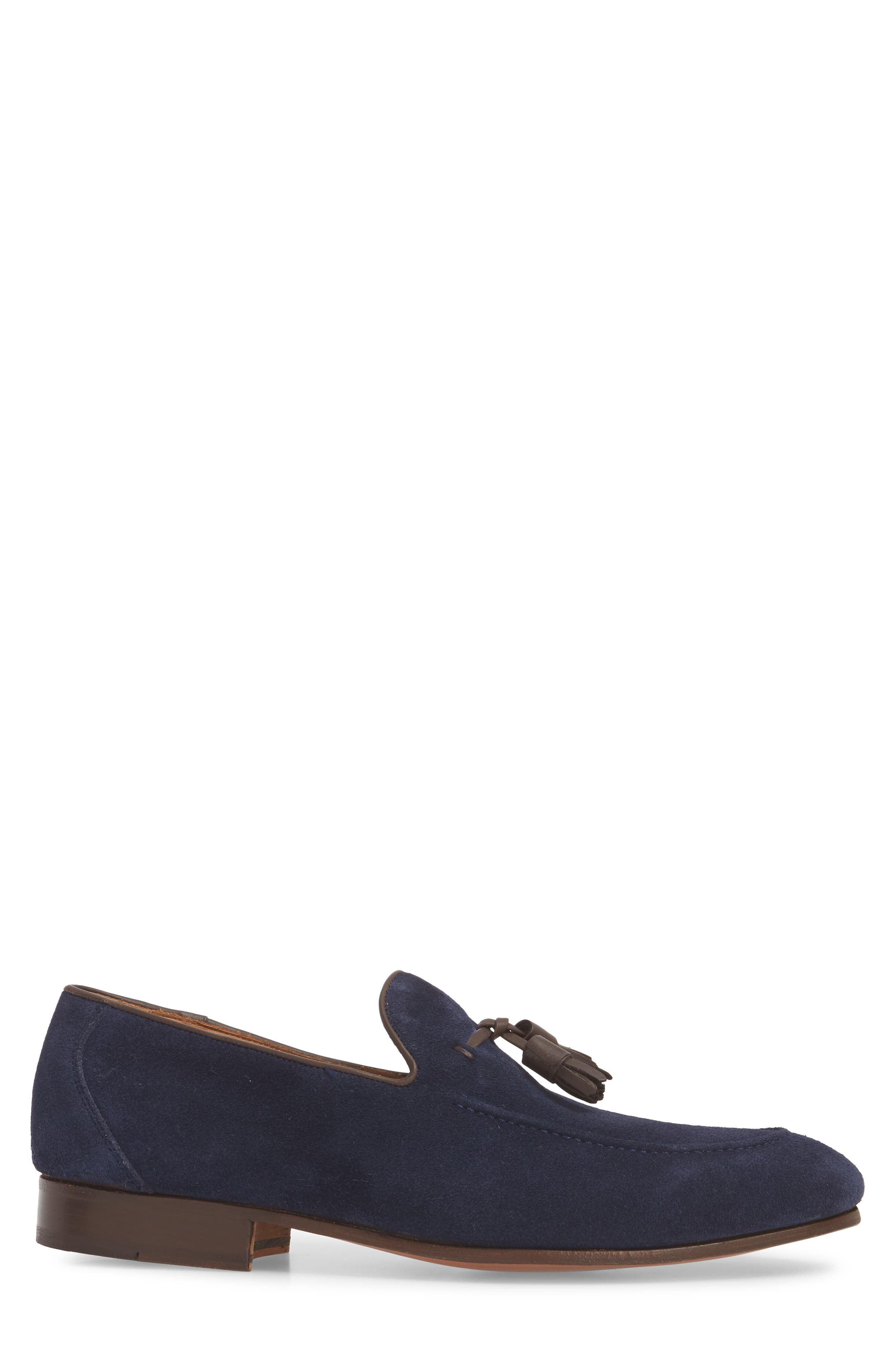 Ario Tassel Loafer,                             Alternate thumbnail 3, color,                             NAVY SUEDE