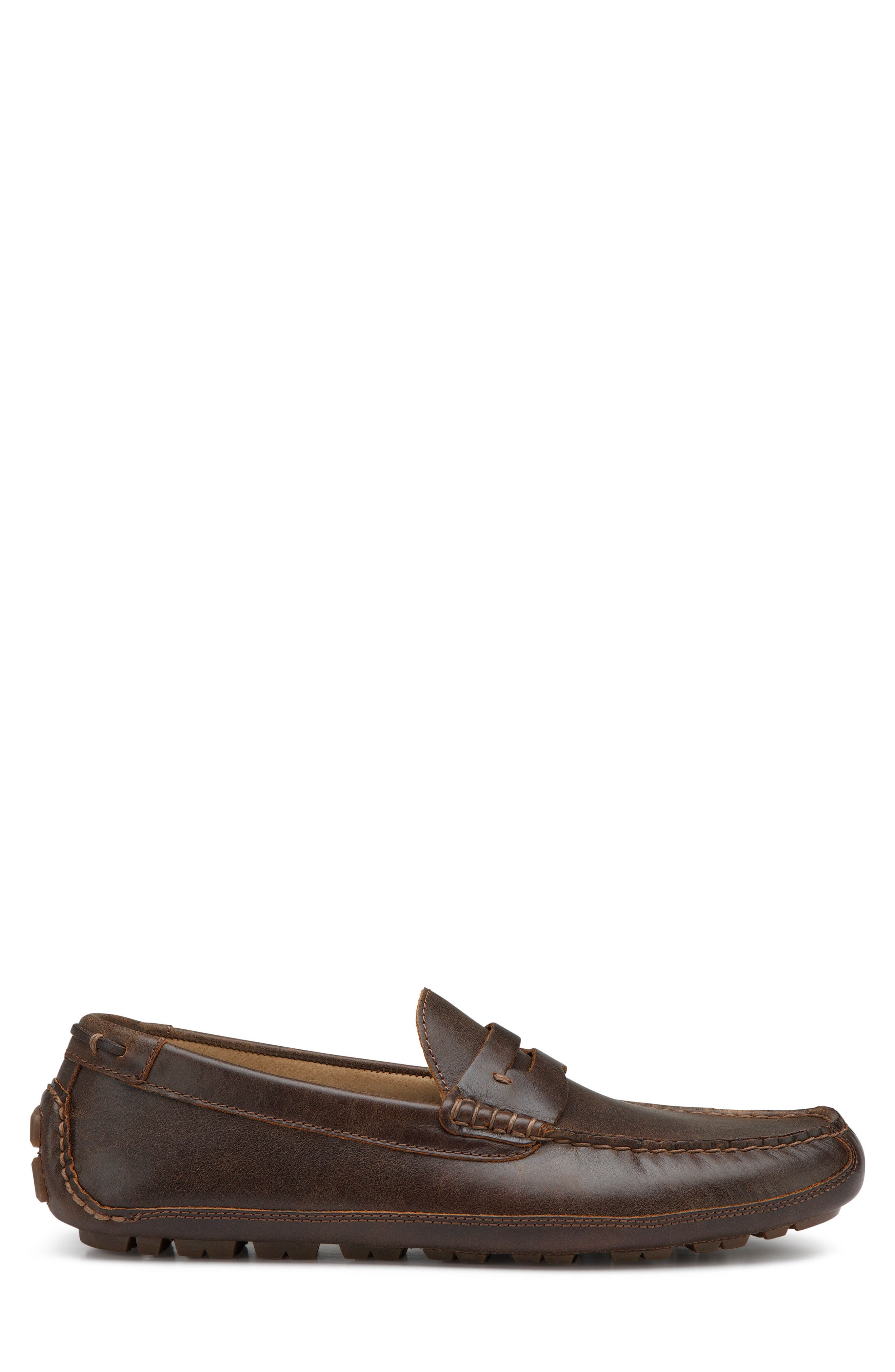 Dawson Water Resistant Driving Loafer,                             Alternate thumbnail 3, color,                             DARK BROWN LEATHER