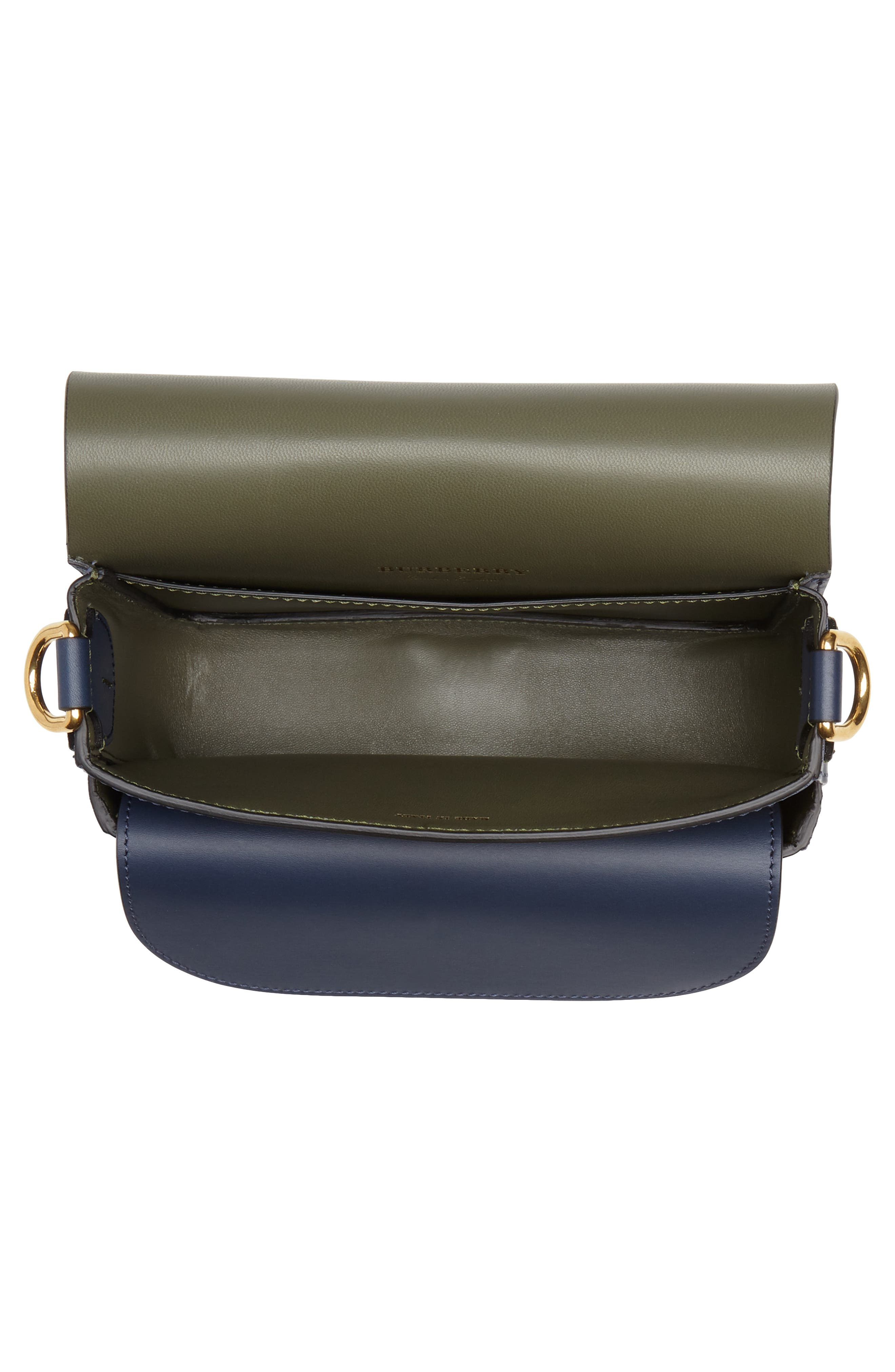Large Square Leather Shoulder Bag,                             Alternate thumbnail 4, color,                             MID INDIGO