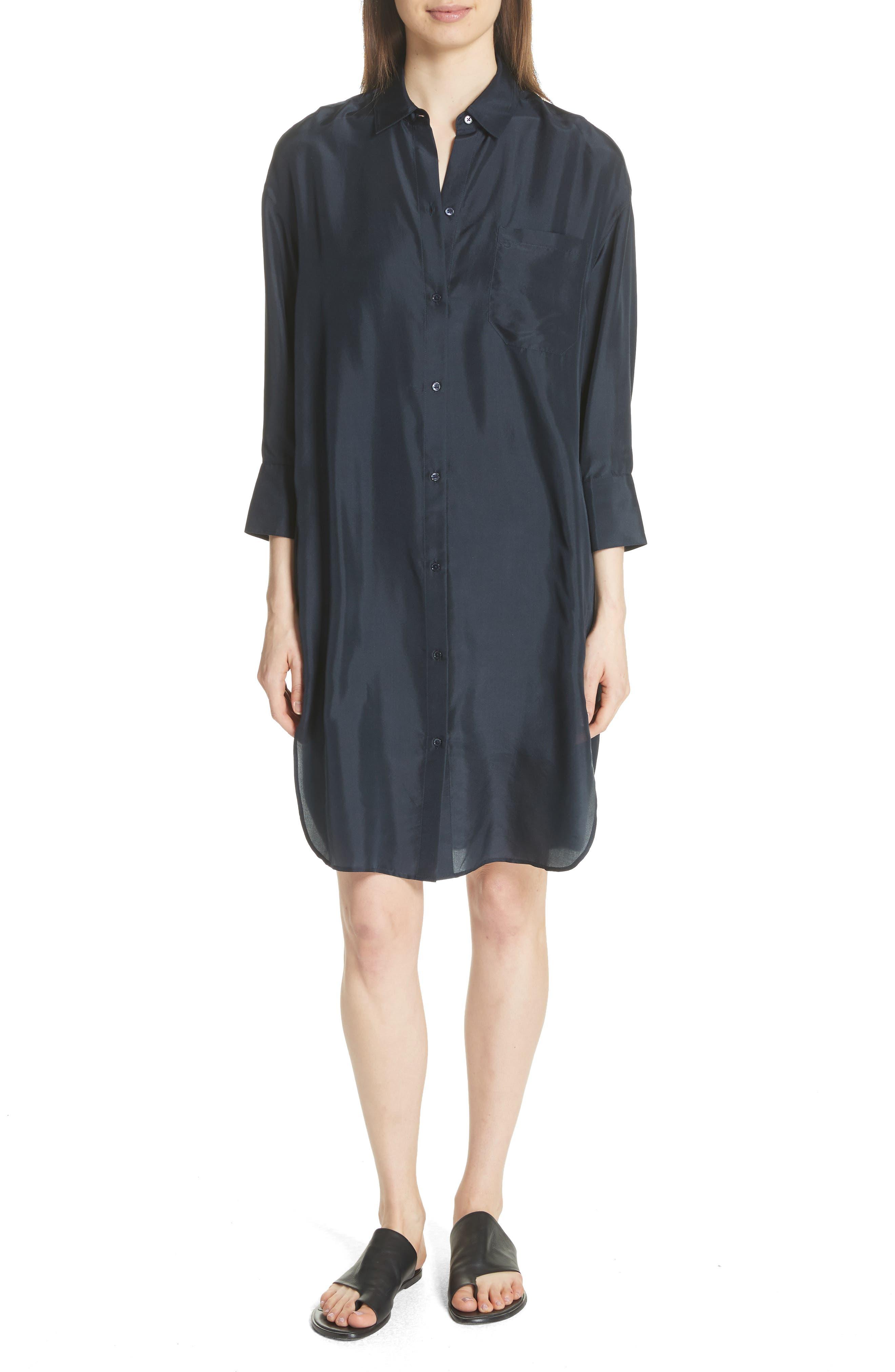 Silk Shirtdress,                             Alternate thumbnail 5, color,                             403