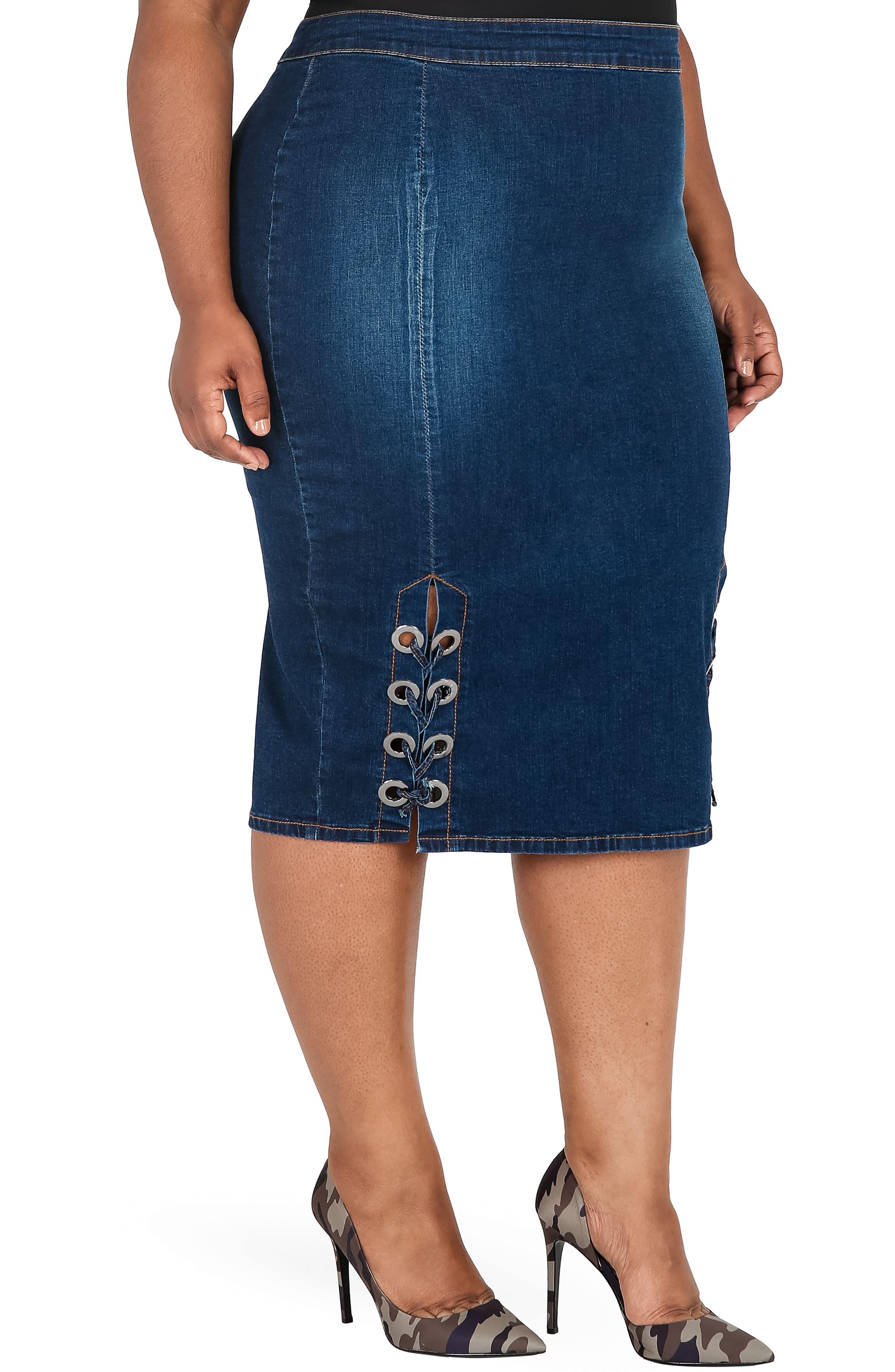 Eula Denim Skirt,                             Alternate thumbnail 4, color,                             BLUE