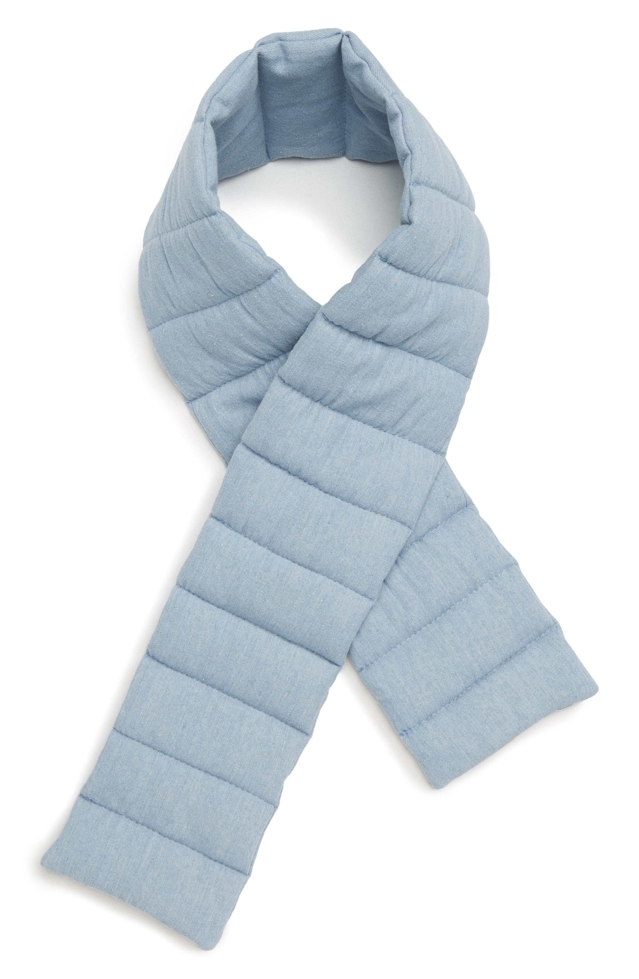Quilted Denim Scarf,                         Main,                         color, BLUE