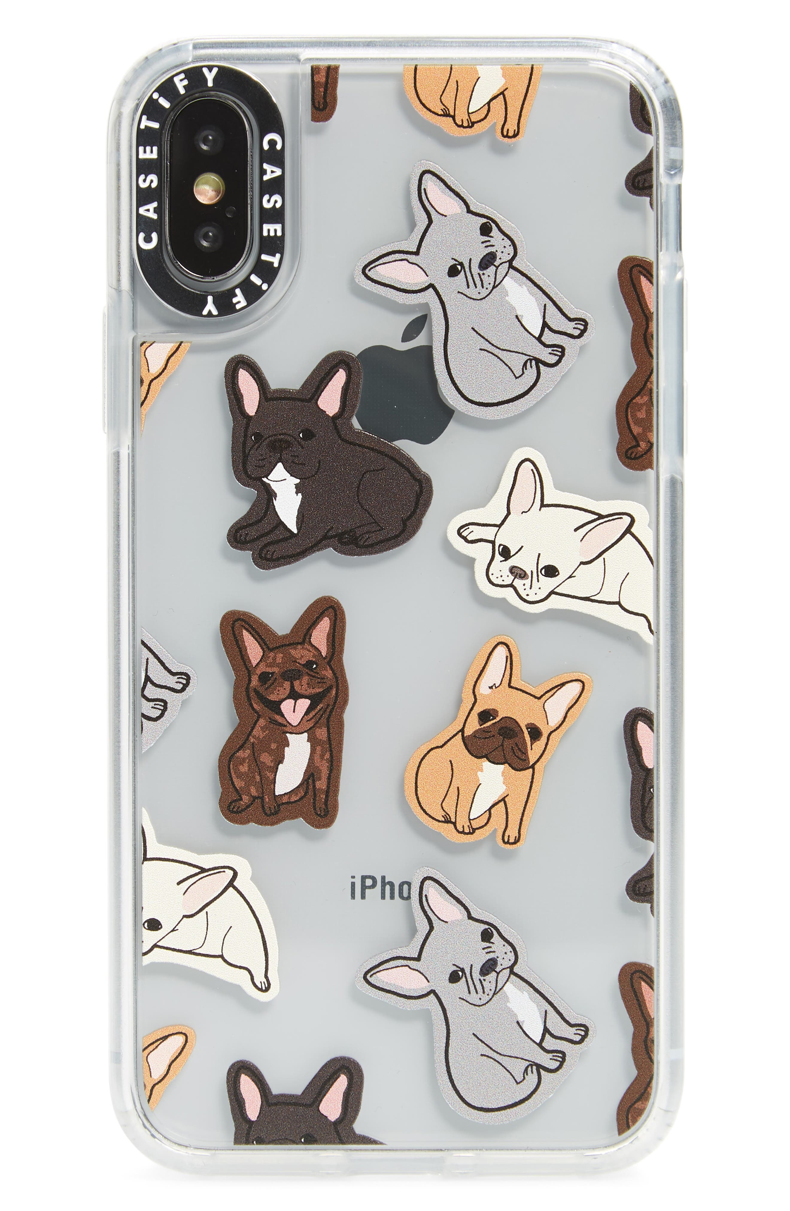 Excuse my Frenchie iPhone X/Xs/Xs Max & XR Case,                             Main thumbnail 1, color,                             TAN/ BLACK/ WHITE