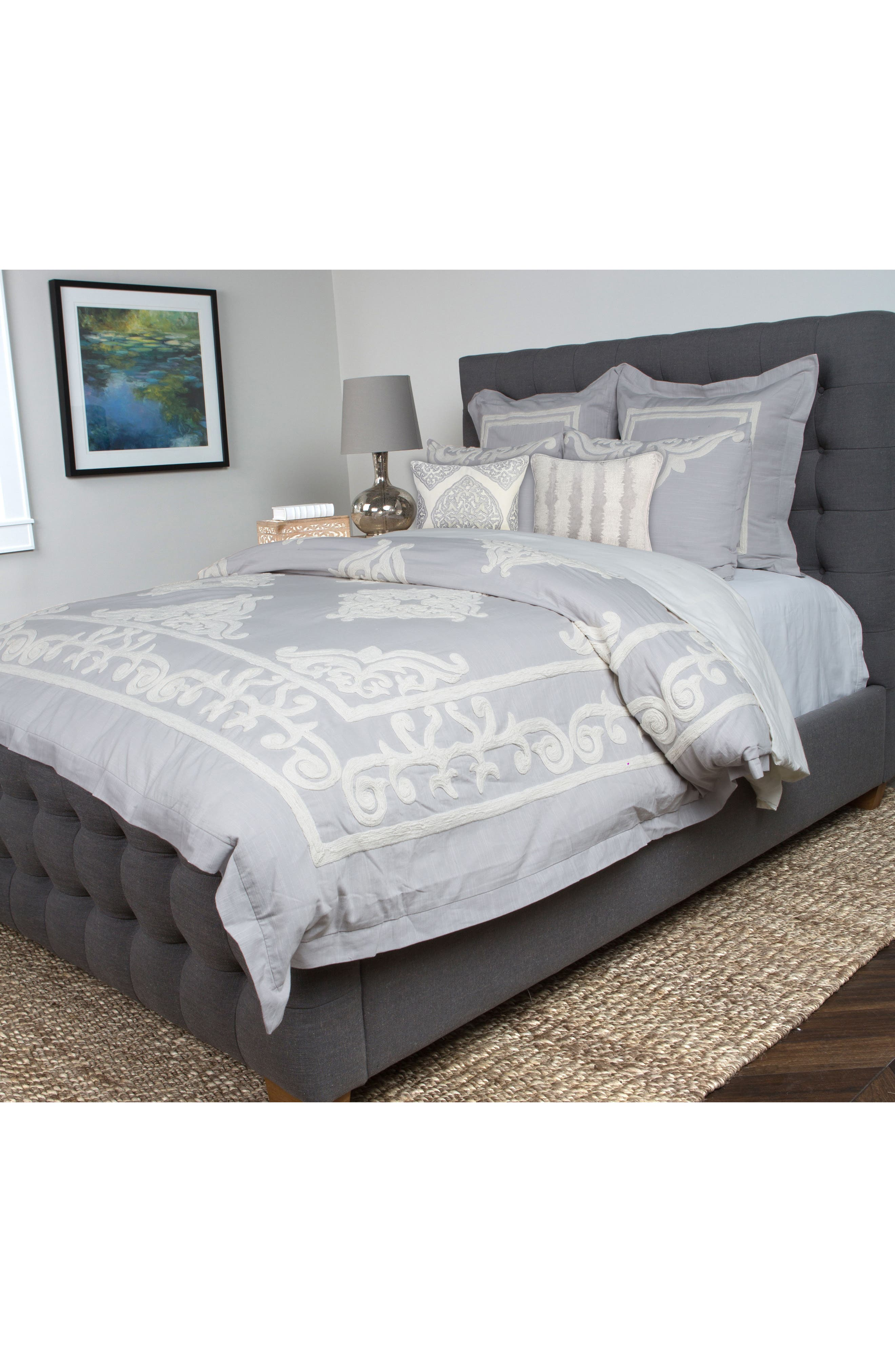 Patrina Embroidered Duvet Cover,                             Alternate thumbnail 2, color,                             SOFT GREY/ IVORY
