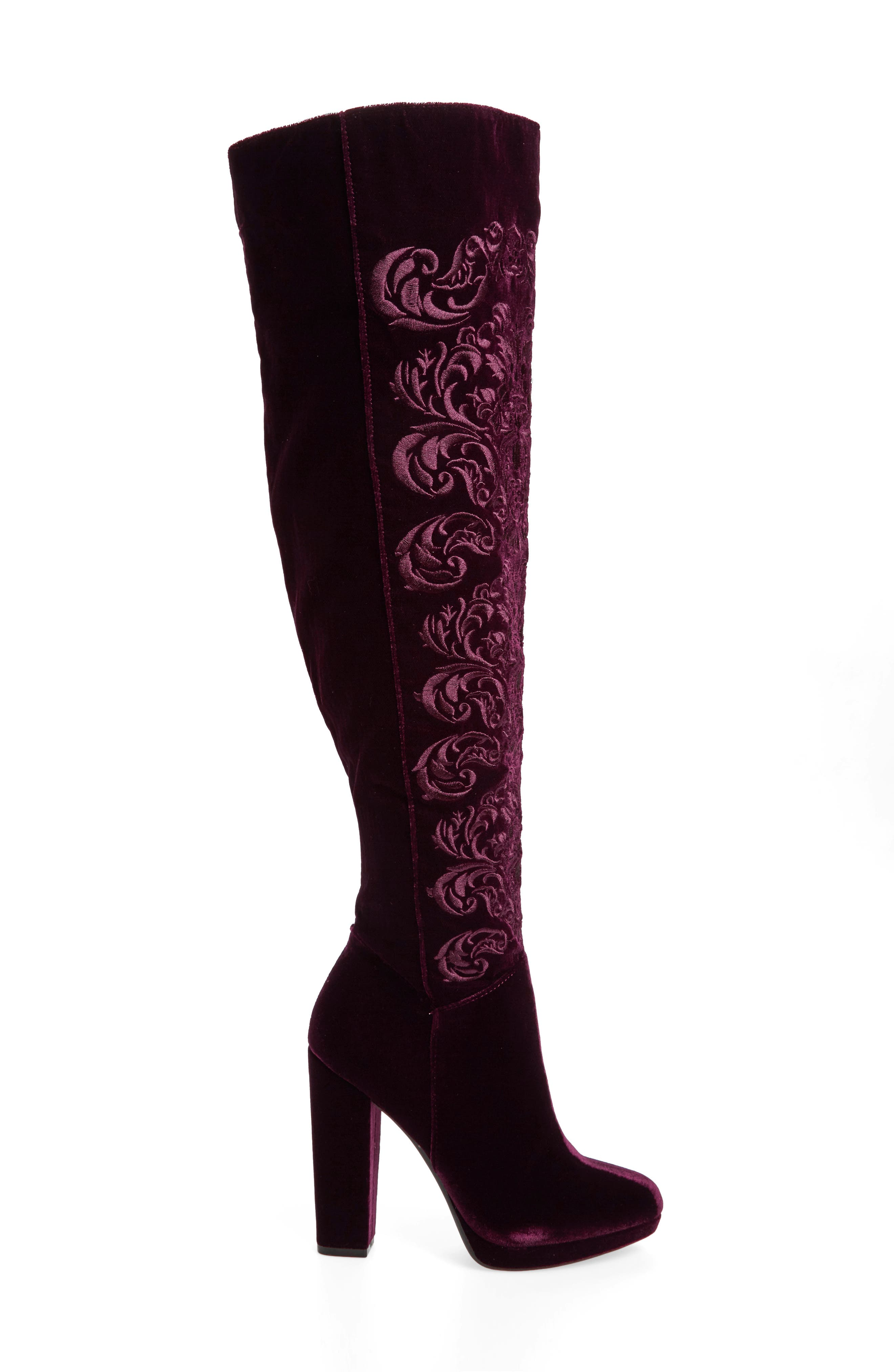Grizella Embroidered Over the Knee Boot,                             Alternate thumbnail 6, color,
