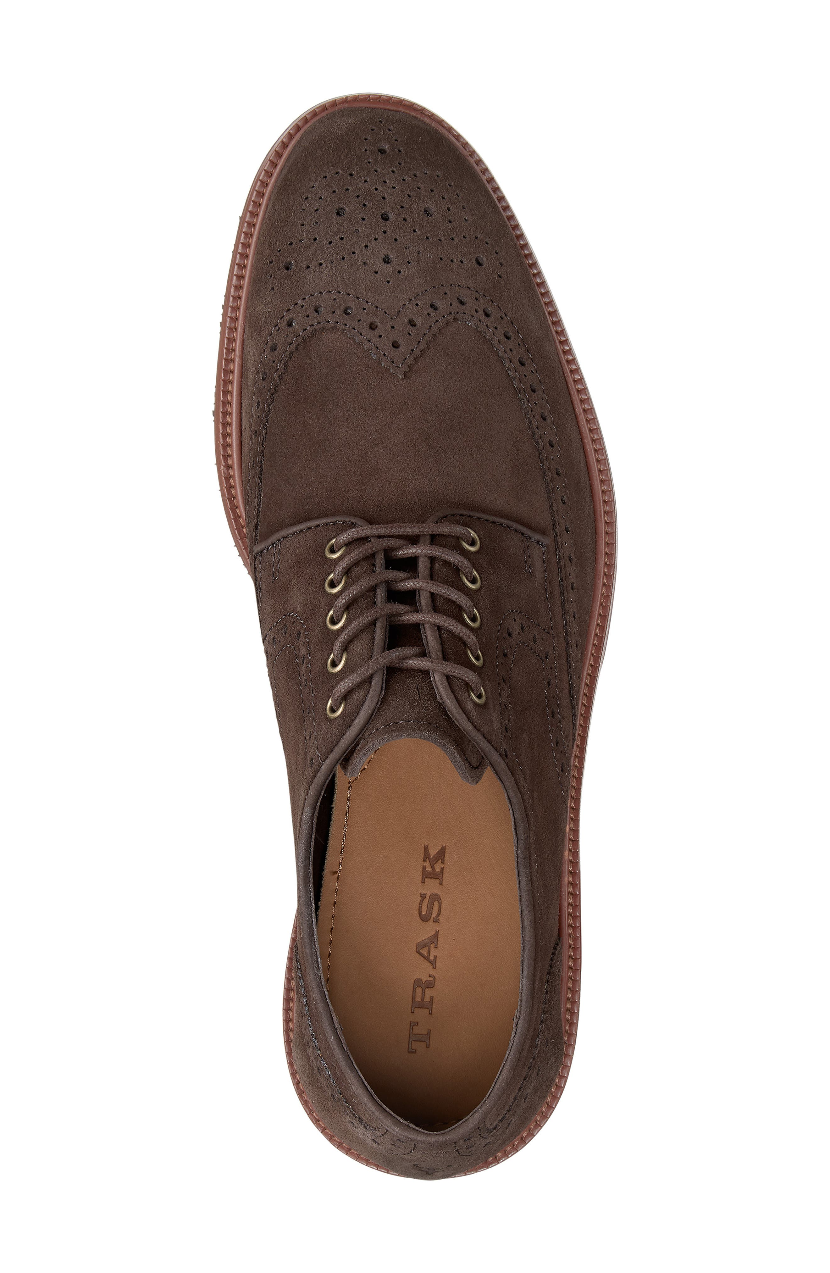 Logan Wingtip Derby,                             Alternate thumbnail 5, color,                             CHARCOAL SUEDE
