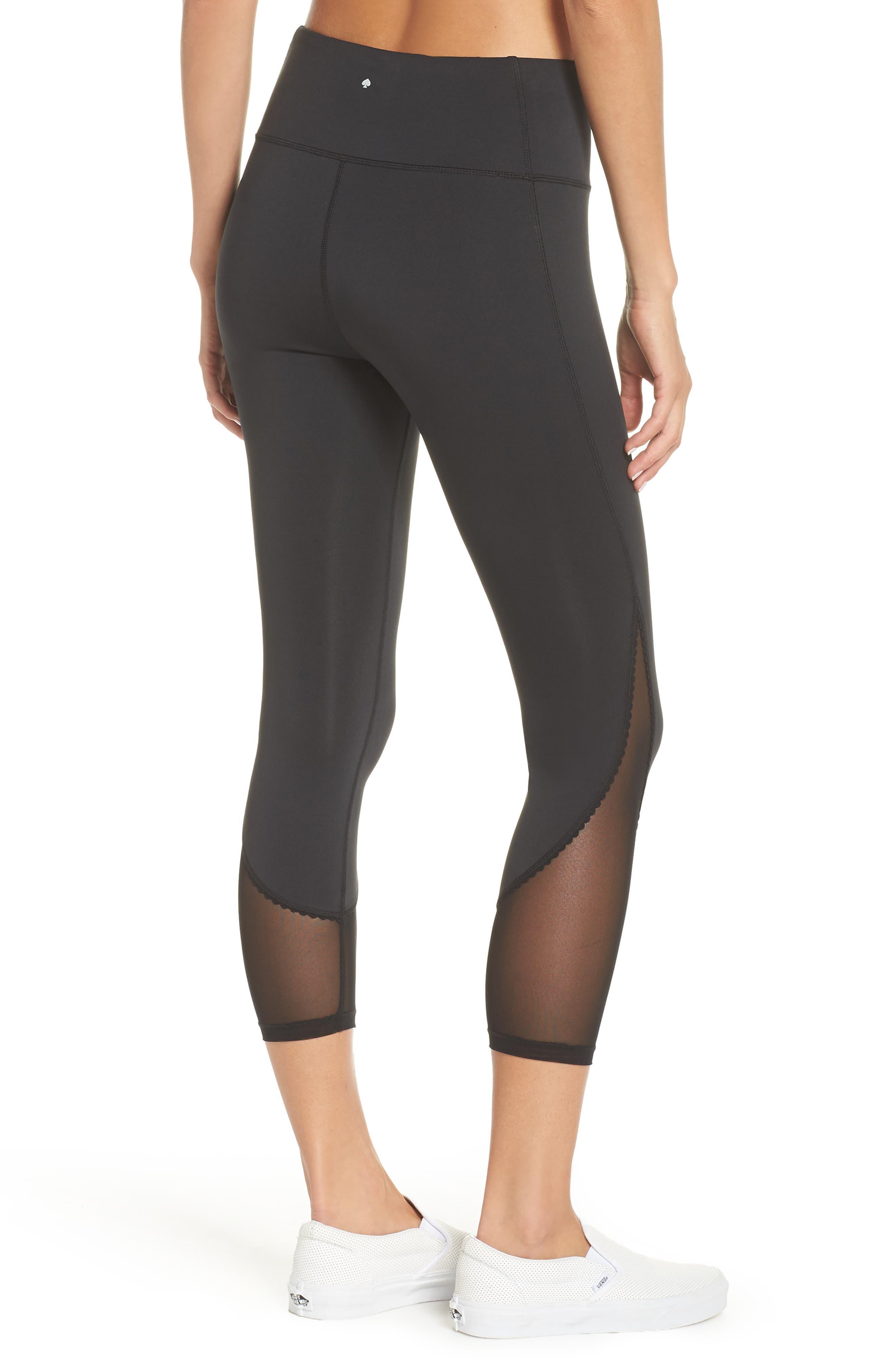 micro mesh leggings,                             Alternate thumbnail 2, color,                             BLACK