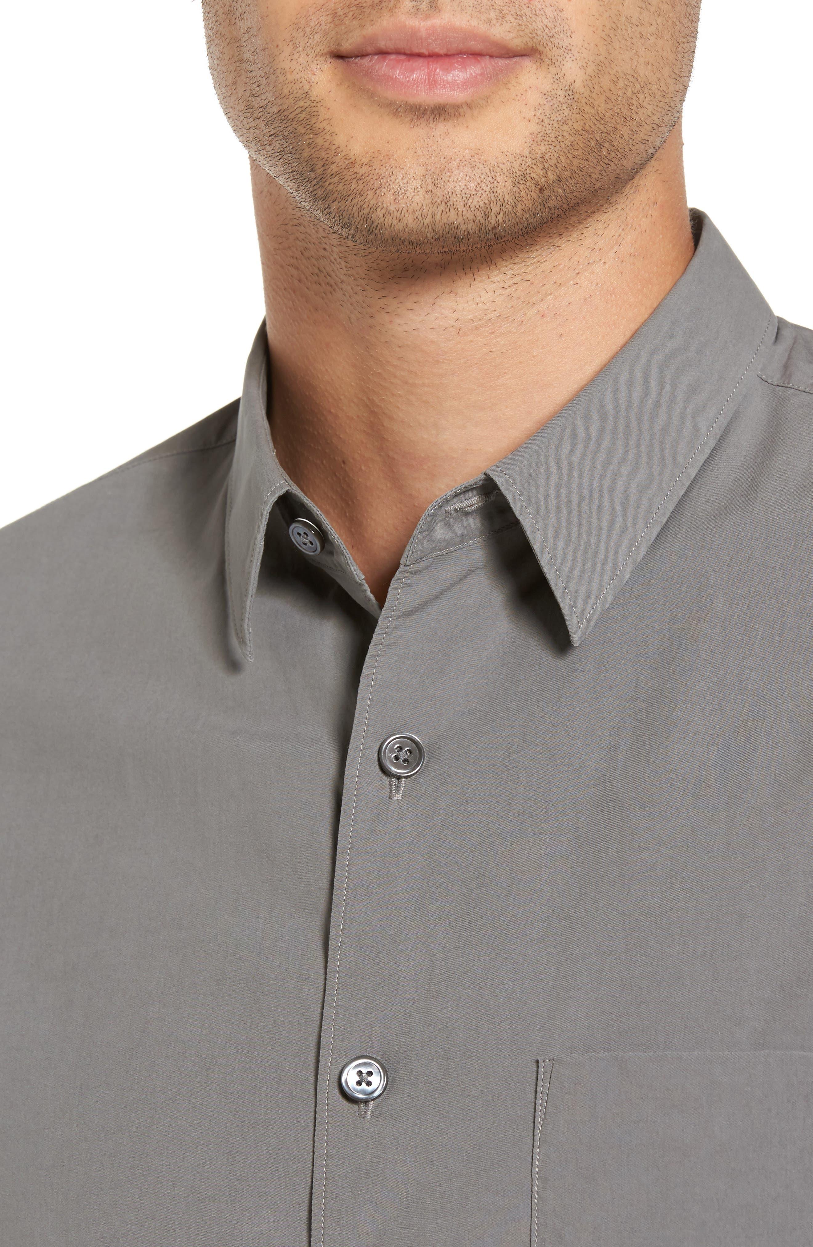 Rammy Trim Fit Solid Sport Shirt,                             Alternate thumbnail 4, color,                             020