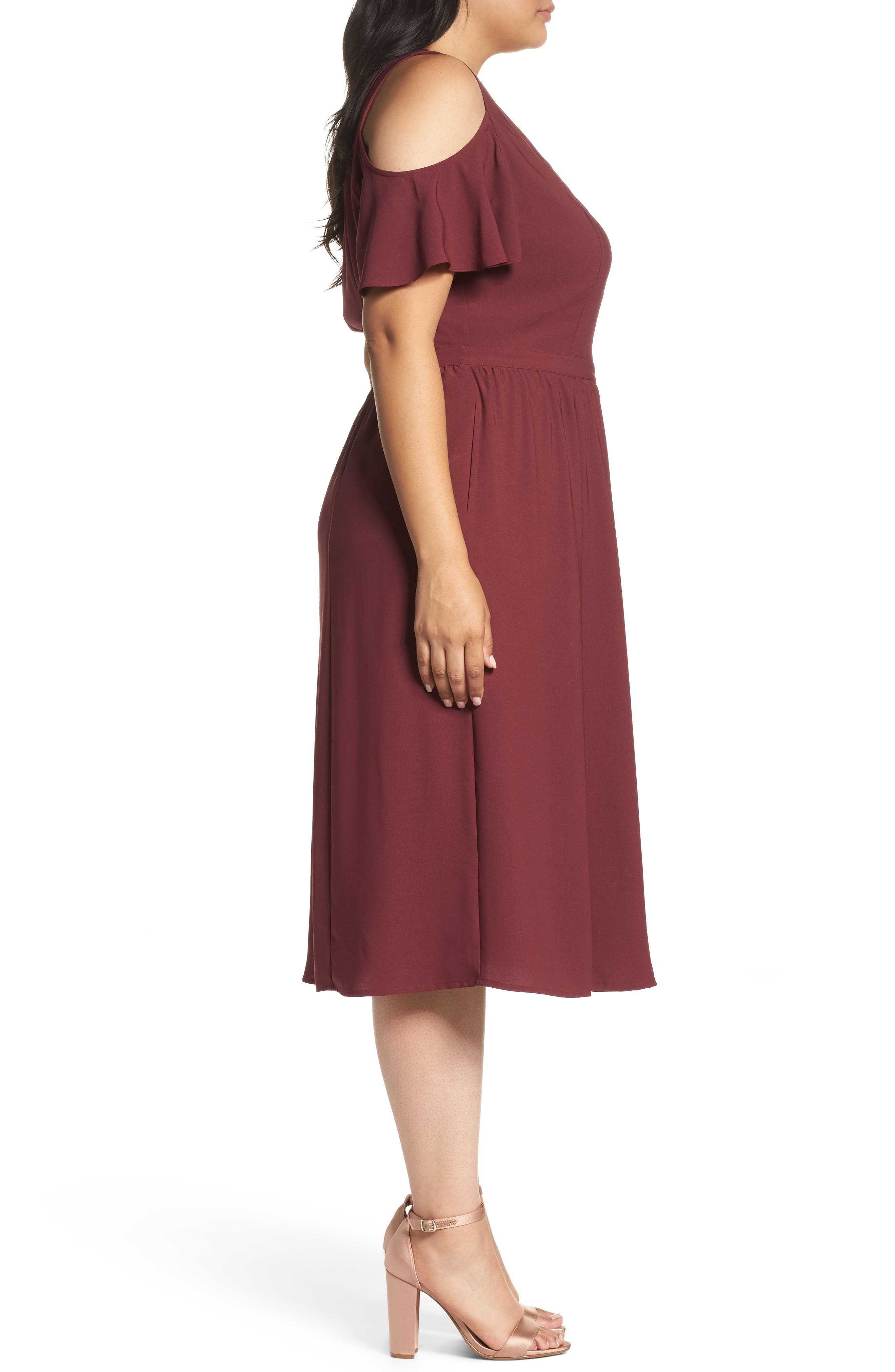 Cold Shoulder Midi Dress,                             Alternate thumbnail 3, color,                             930