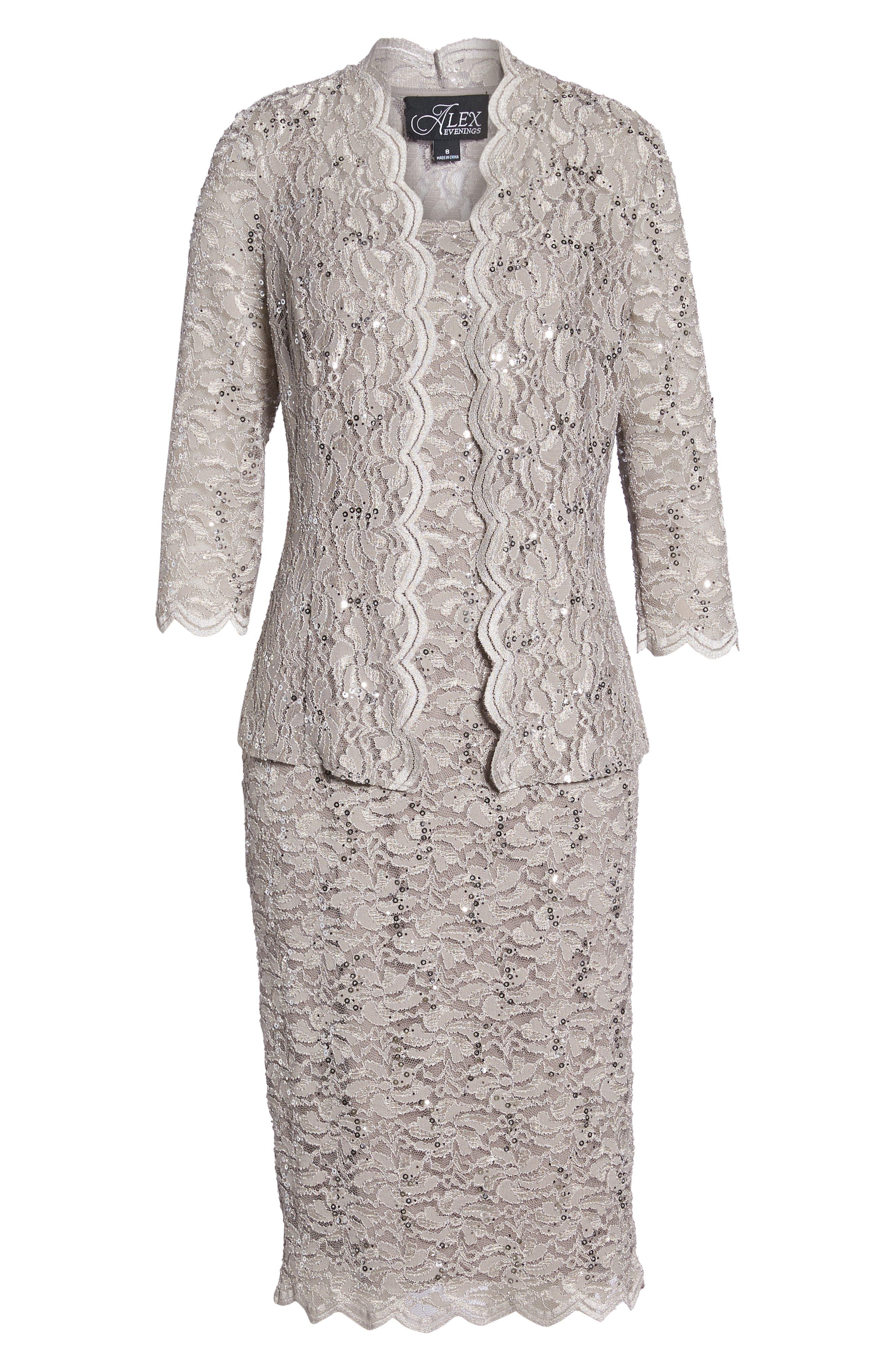 Lace Dress & Jacket,                             Alternate thumbnail 7, color,                             MINK