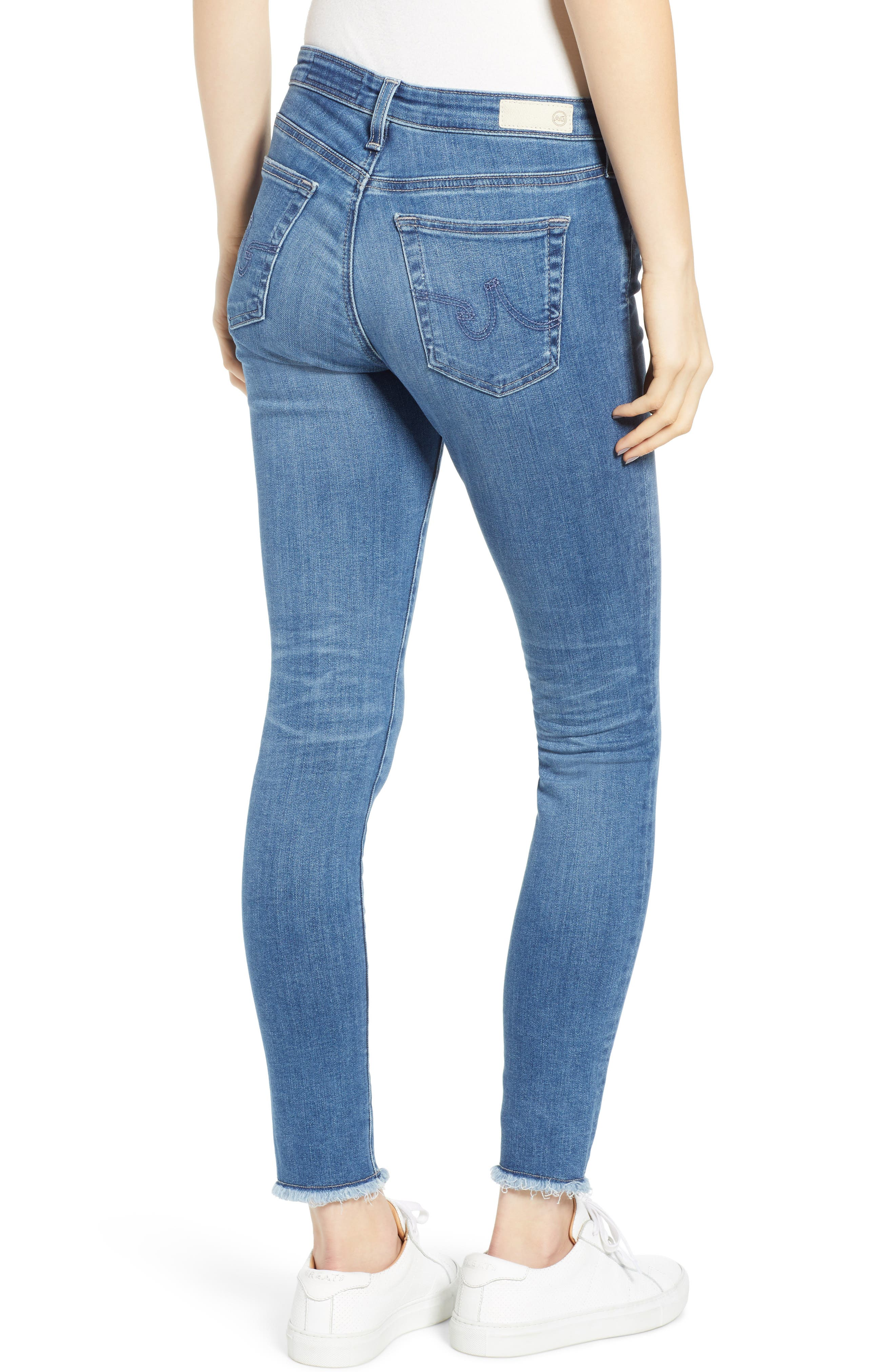 AG,                             The Legging Frayed Ankle Super Skinny Jeans,                             Alternate thumbnail 2, color,                             15 YEAR AFFINITY