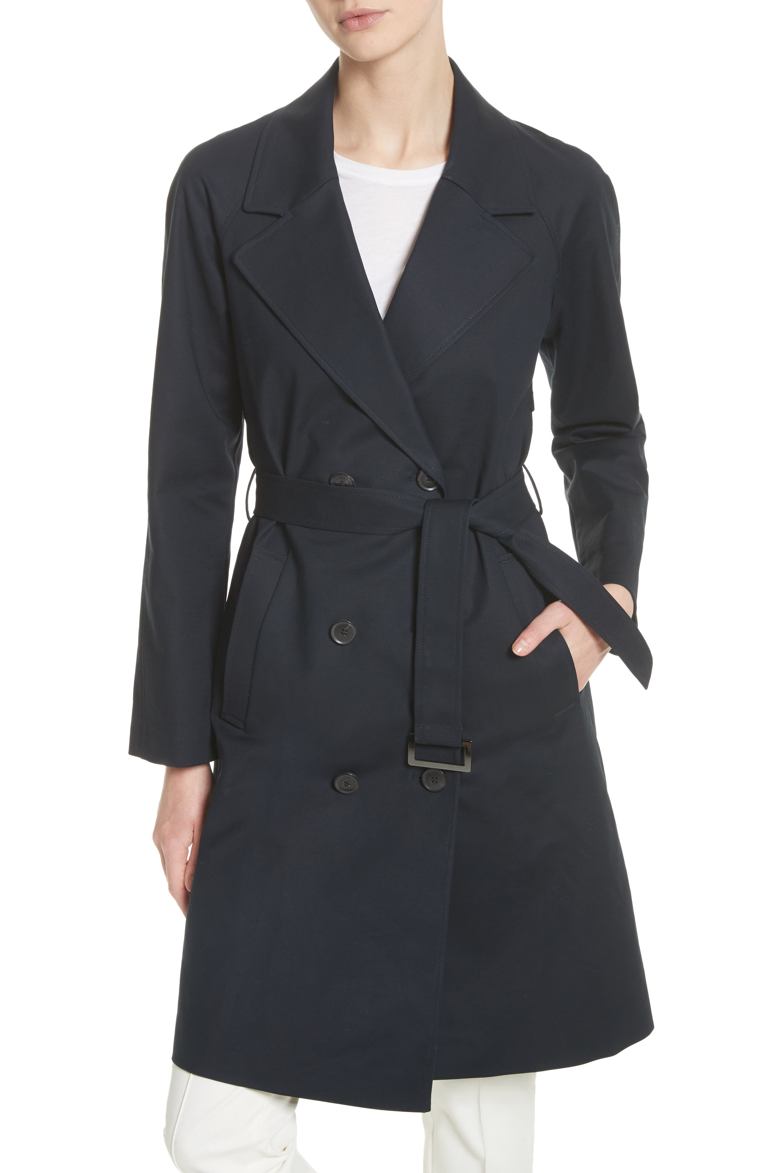 Double Breasted Cotton Blend Trench Coat with Removable Hoodie Inset,                             Alternate thumbnail 2, color,                             414