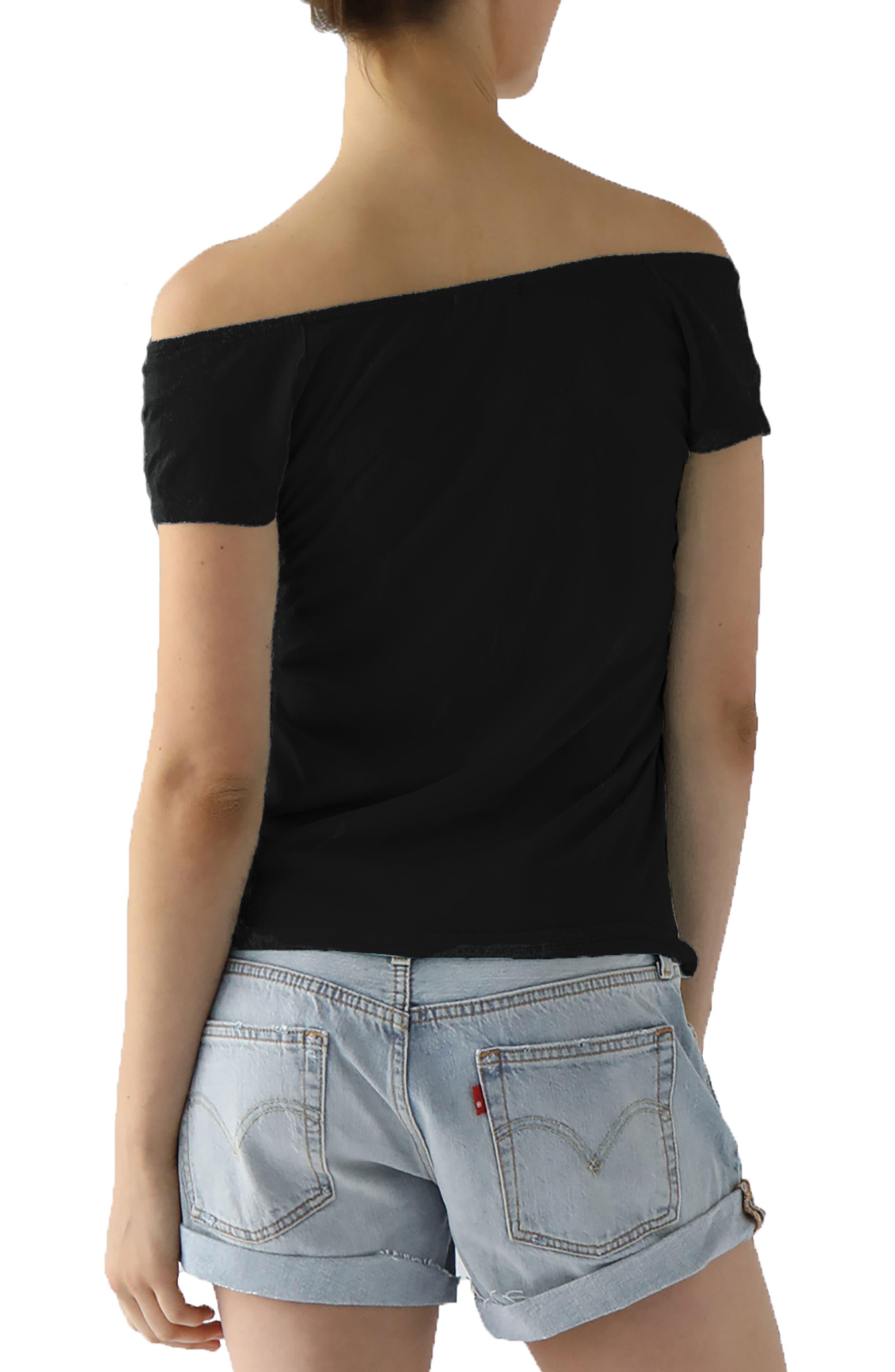Imelda Tissue Jersey Off the Shoulder Tee,                             Alternate thumbnail 2, color,                             001