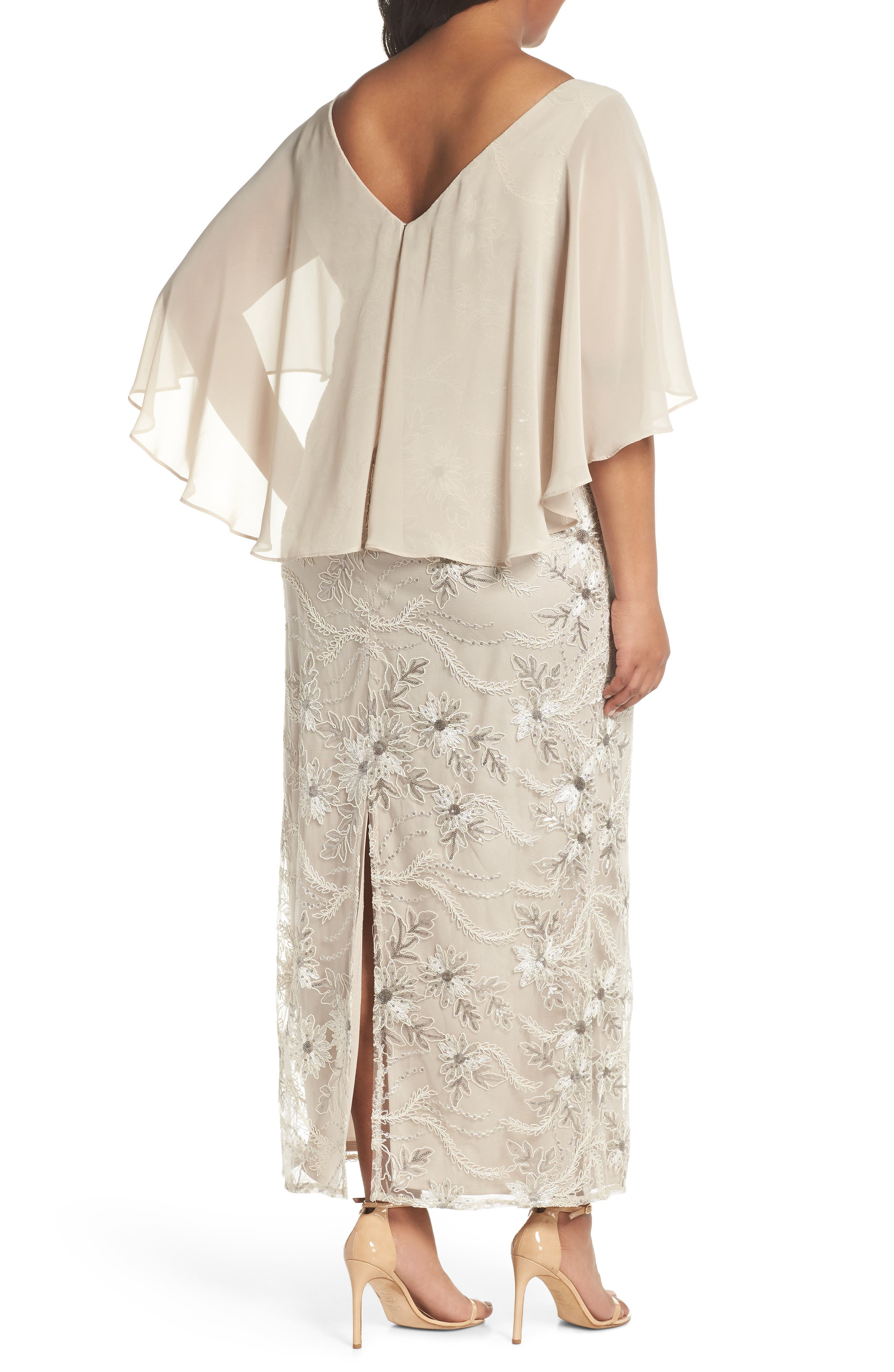 Embellished Capelet Gown,                             Alternate thumbnail 2, color,                             250