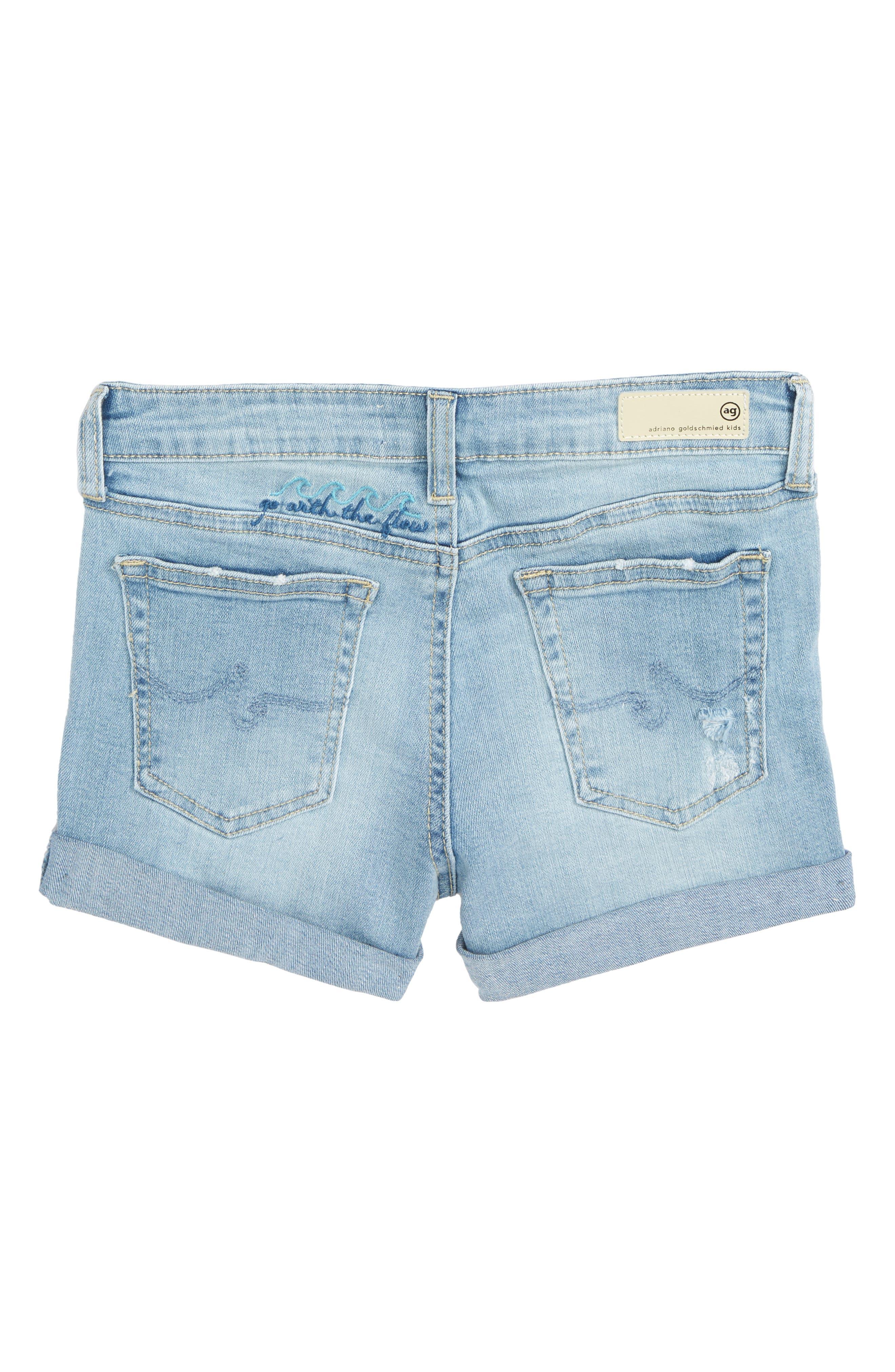 The Heather Denim Shorts,                             Alternate thumbnail 2, color,