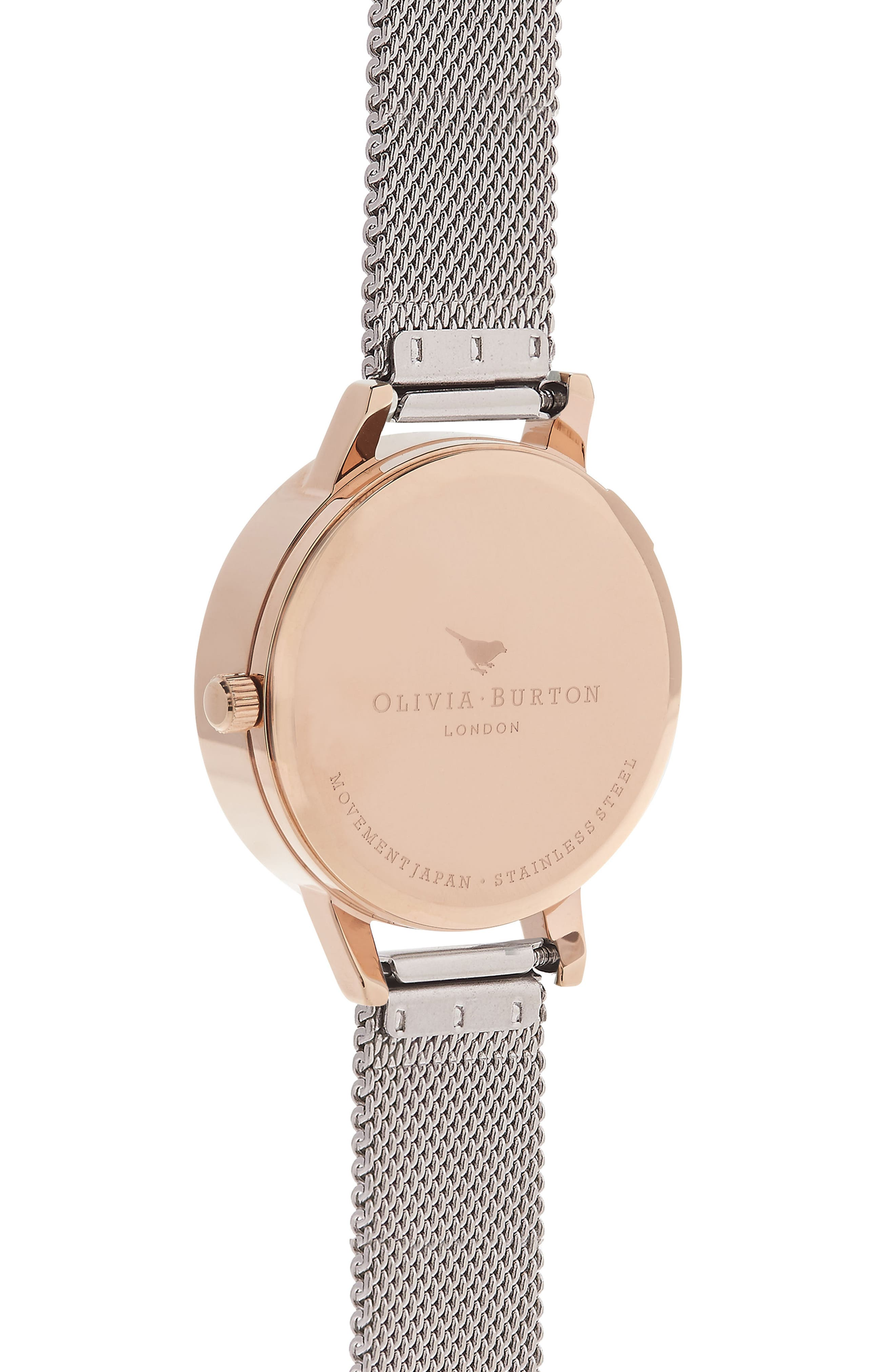 Flower Show Mesh Strap Watch, 30mm,                             Alternate thumbnail 2, color,                             SILVER/ DAISY/ ROSE GOLD