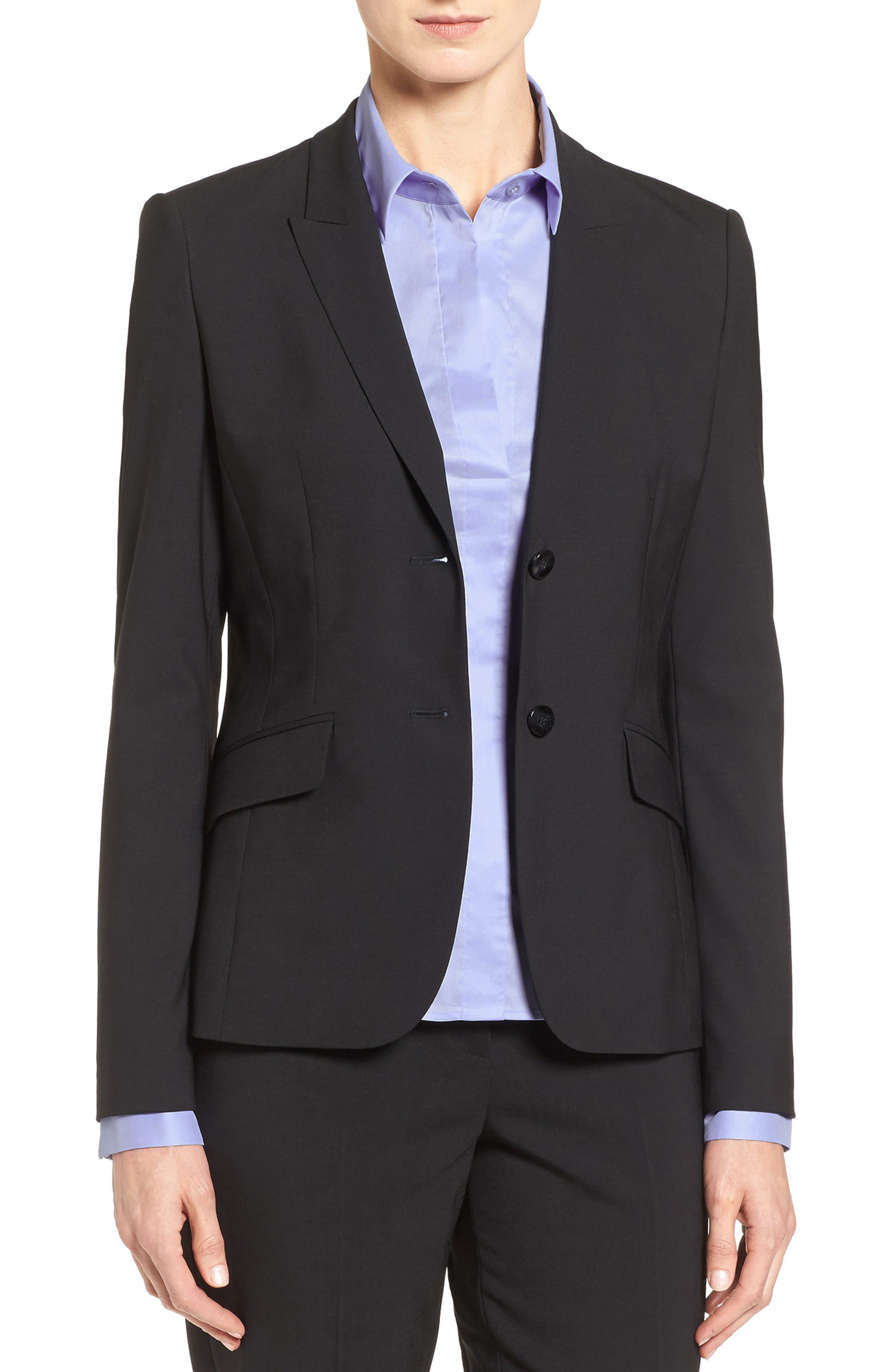 Julea Tropical Stretch Wool Jacket,                             Alternate thumbnail 6, color,                             BLACK