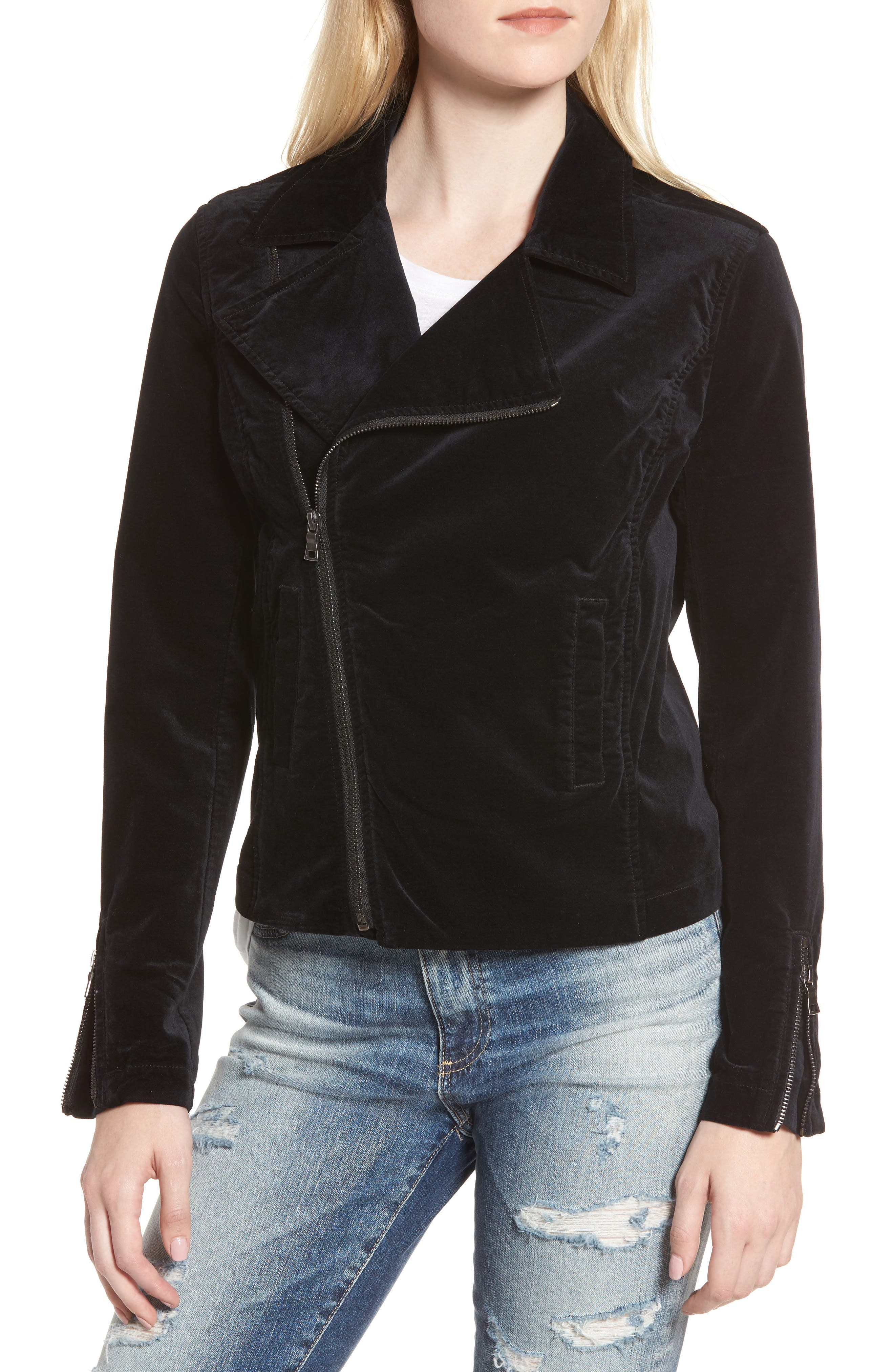 Quincy Velvet Biker Jacket,                             Alternate thumbnail 4, color,                             001