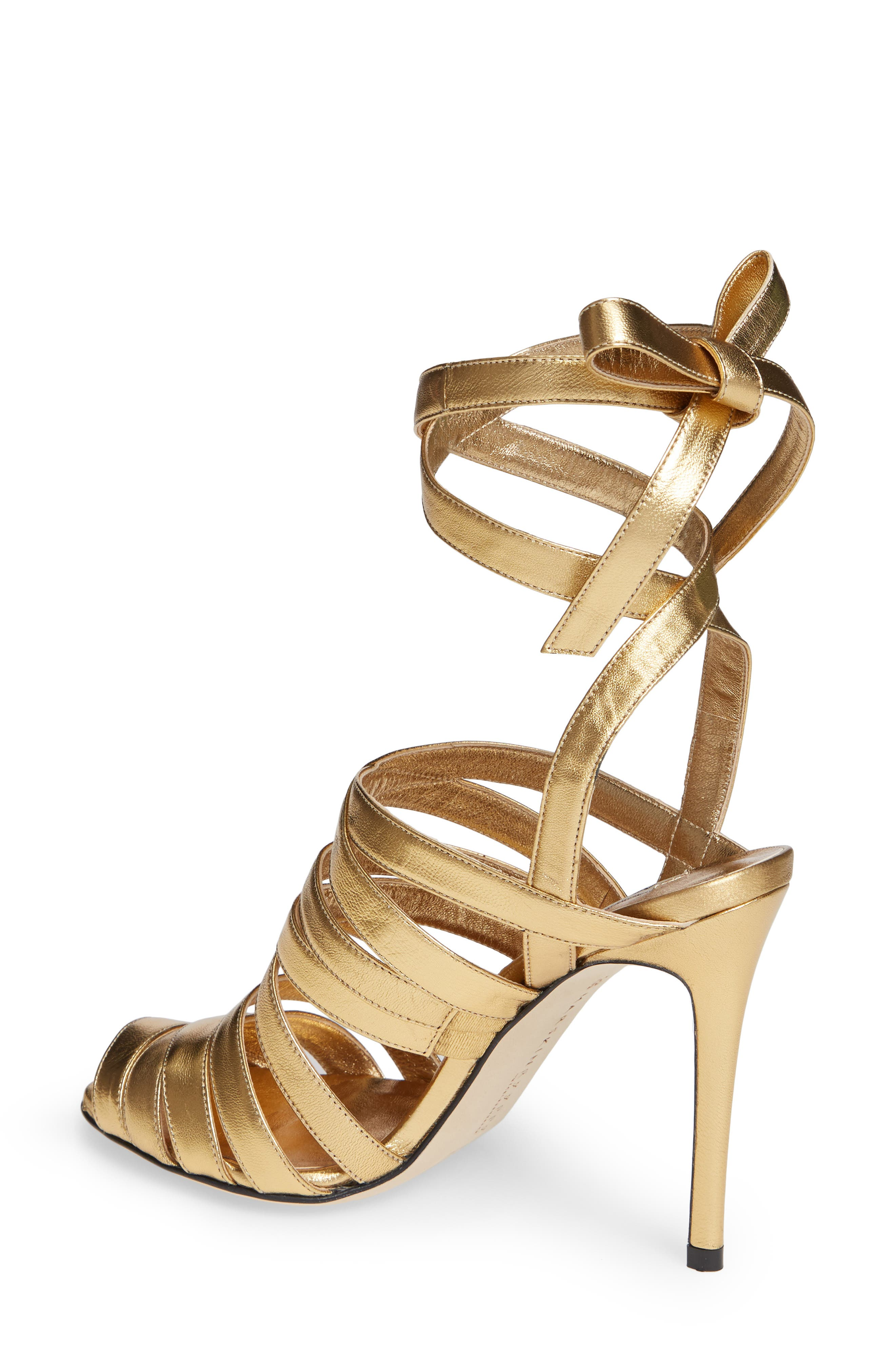 Nadege Strappy Pump,                             Alternate thumbnail 2, color,                             GOLD LEATHER