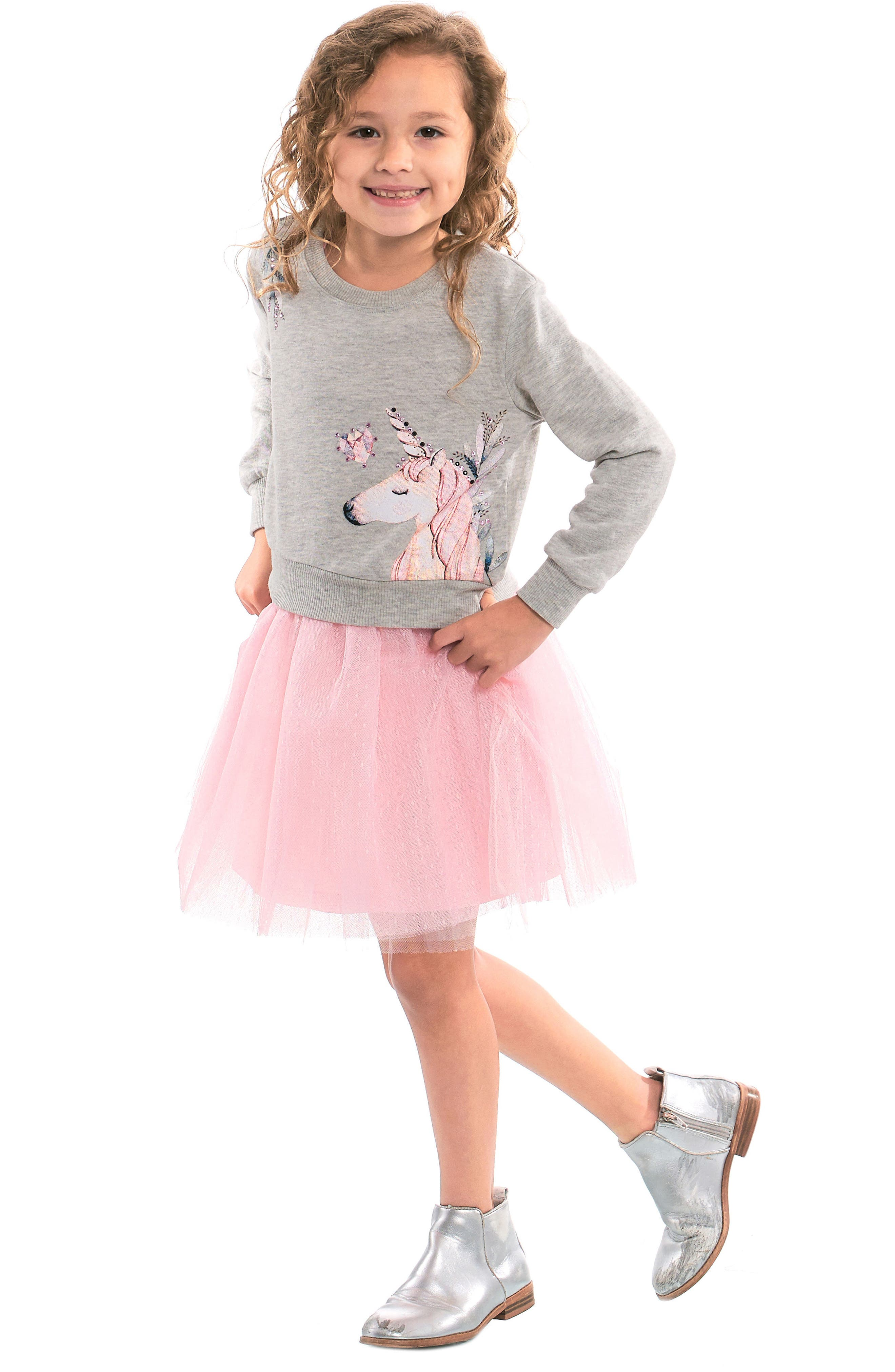 Unicorn Sweatshirt & Tutu Dress Set,                             Alternate thumbnail 7, color,                             GREY PINK