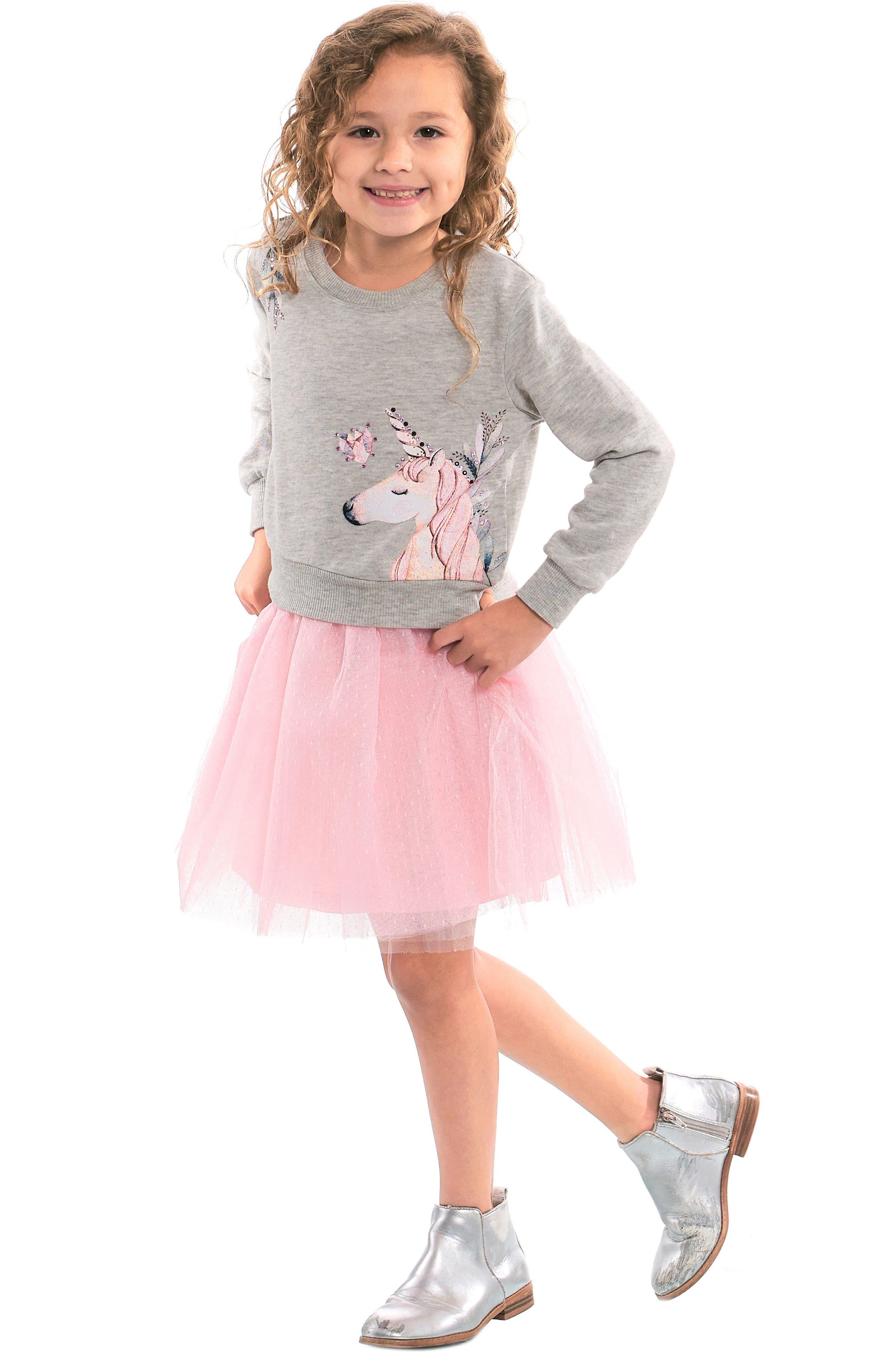 Unicorn Sweatshirt & Tutu Dress Set,                             Alternate thumbnail 7, color,                             069