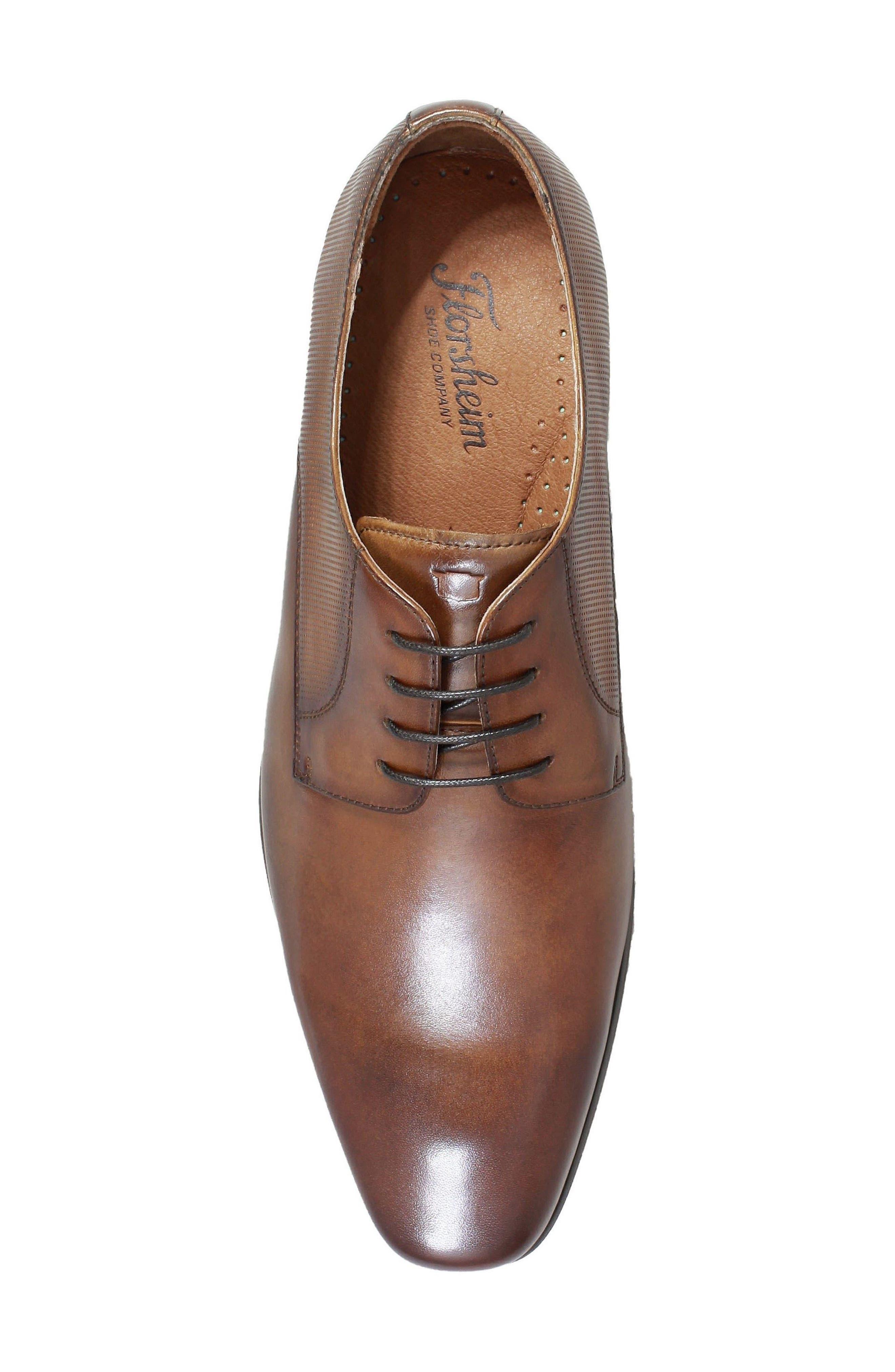 FLORSHEIM,                             Postino Textured Plain Toe Derby,                             Alternate thumbnail 5, color,                             COGNAC LEATHER